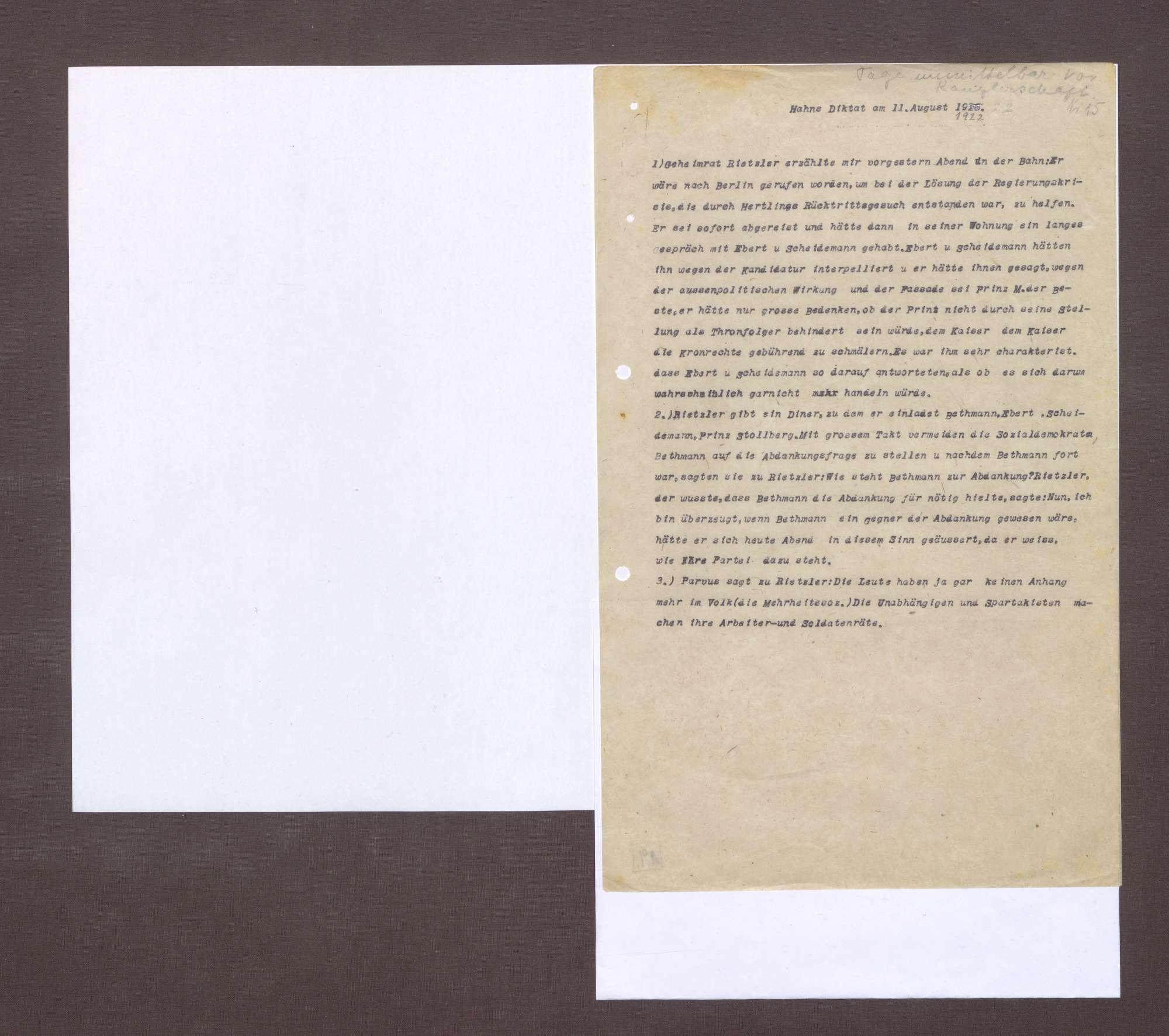 Notiz von Kurt Hahn zu einer Unterhaltung mit Riezler bzgl. eines Gespräches mit Friedrich Ebert und Philipp Scheidemann über eine Kanzlerschaft von Prinz Max von Baden, Bild 1