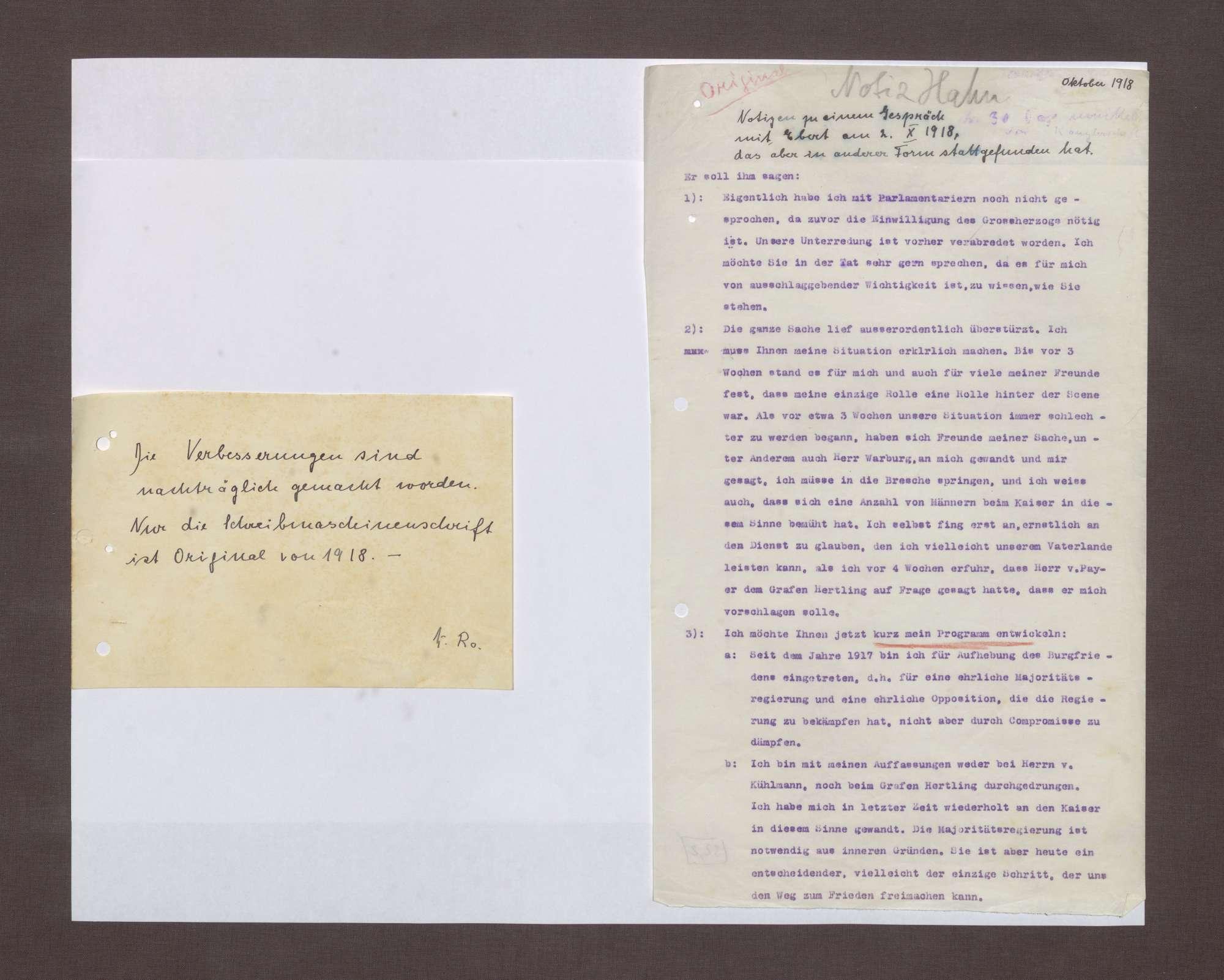 Notizen zu einem Gespräch zwischen Prinz Max von Baden und Friedrich Ebert, Bild 1