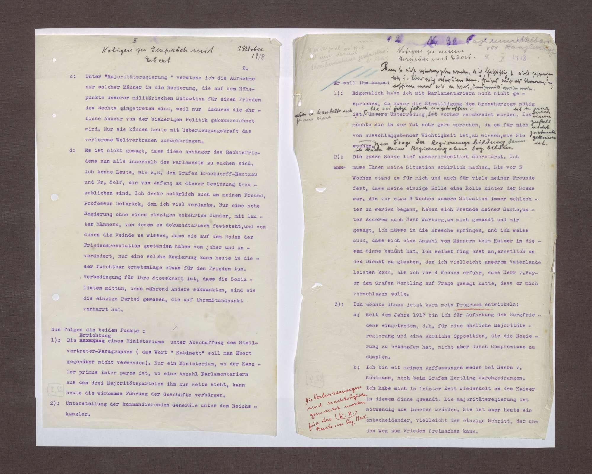 Notizen zu einem Gespräch zwischen Prinz Max von Baden und Friedrich Ebert, Bild 2