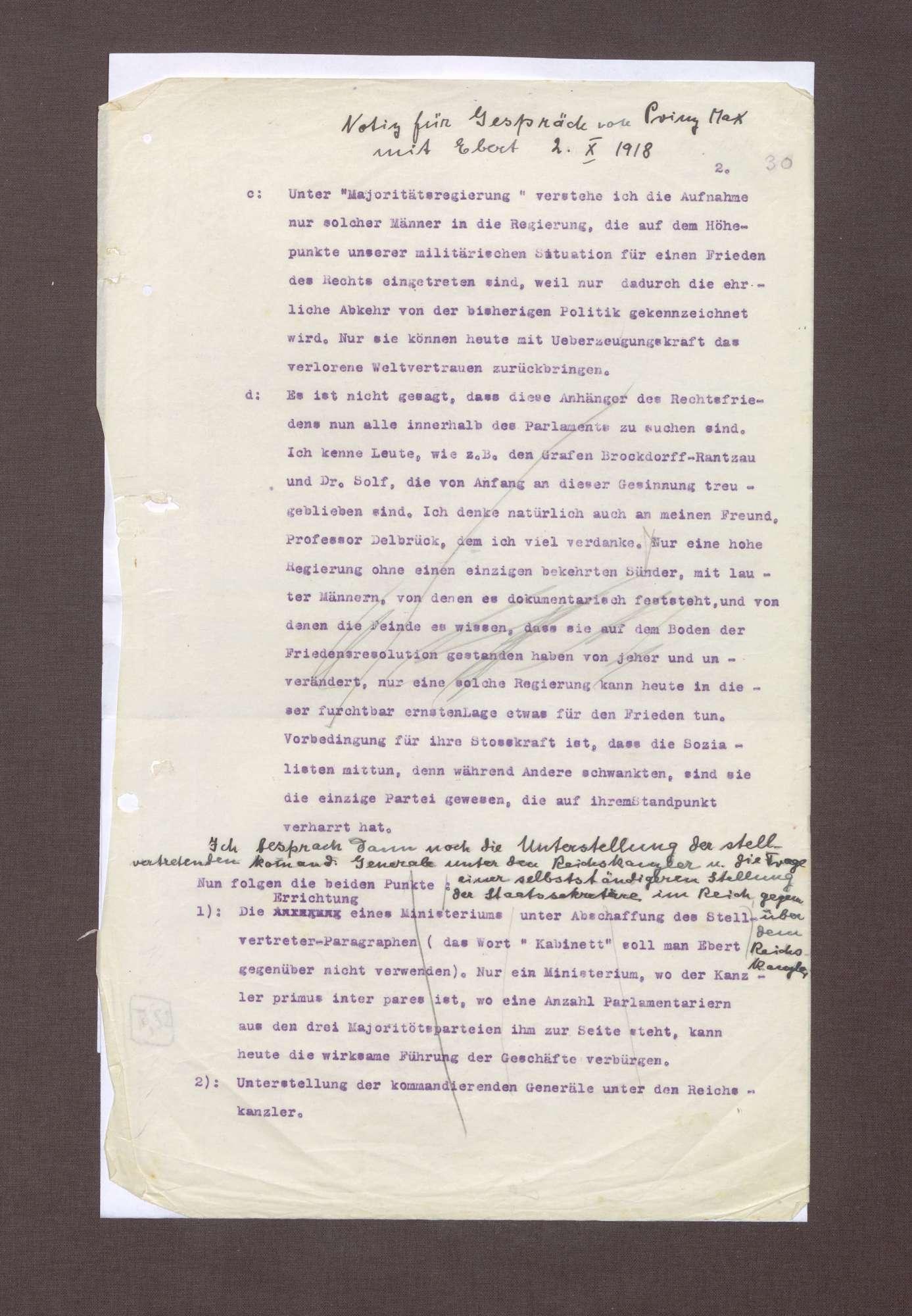 Notizen zu einem Gespräch zwischen Prinz Max von Baden und Friedrich Ebert, Bild 3