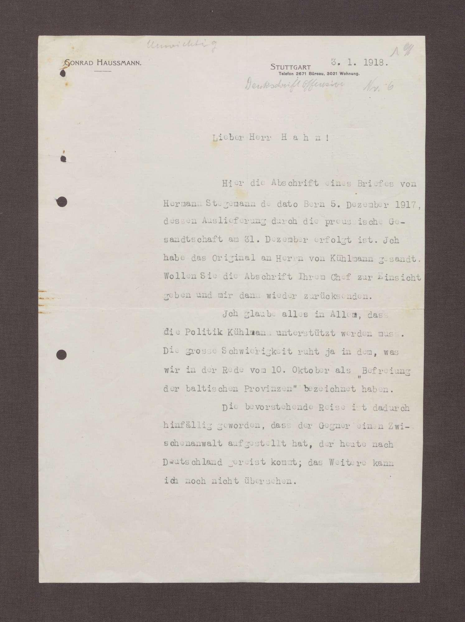 Schreiben von Conrad Haußmann an Kurt Hahn; Unterstützung der Politik Kühlmanns, Bild 1