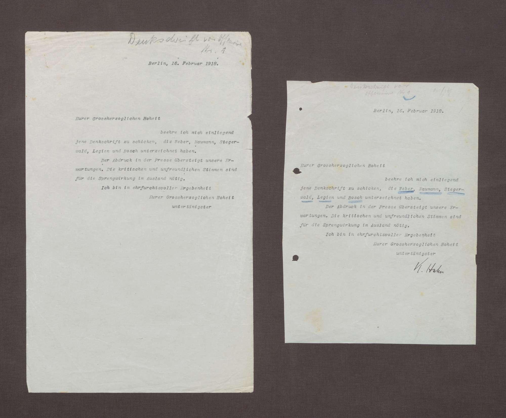Schreiben von Kurt Hahn an Prinz Max von Baden; Zusendung einer Denkschrift von Max Weber, Friedrich Naumann, Adam Stegerwald, Carl Legien und Robert Bosch, Bild 1