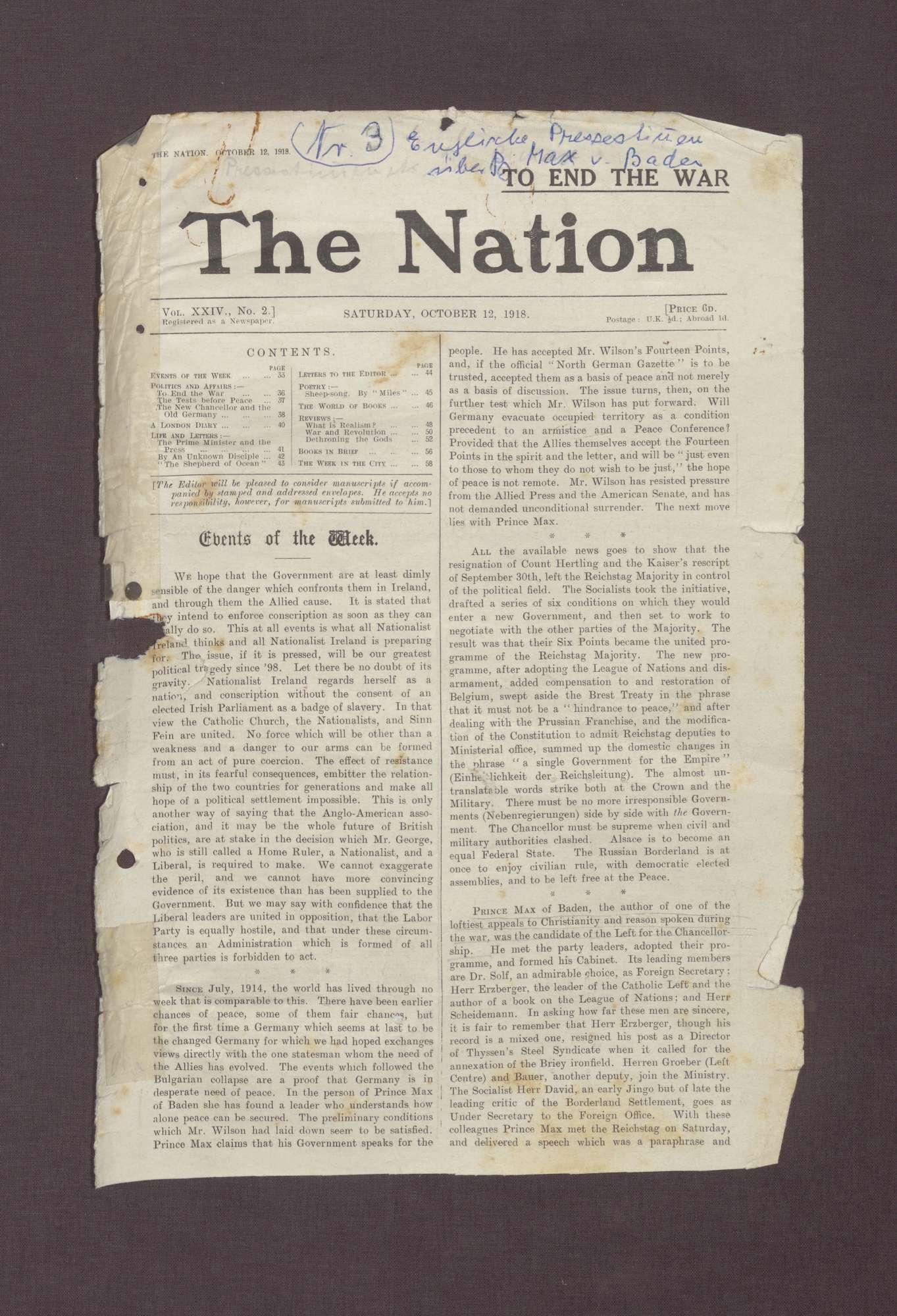 """Ausgabe von """"The Nation"""" mit einem Artikel über die Ernennung von Prinz Max zum Reichskanzler, Bild 1"""