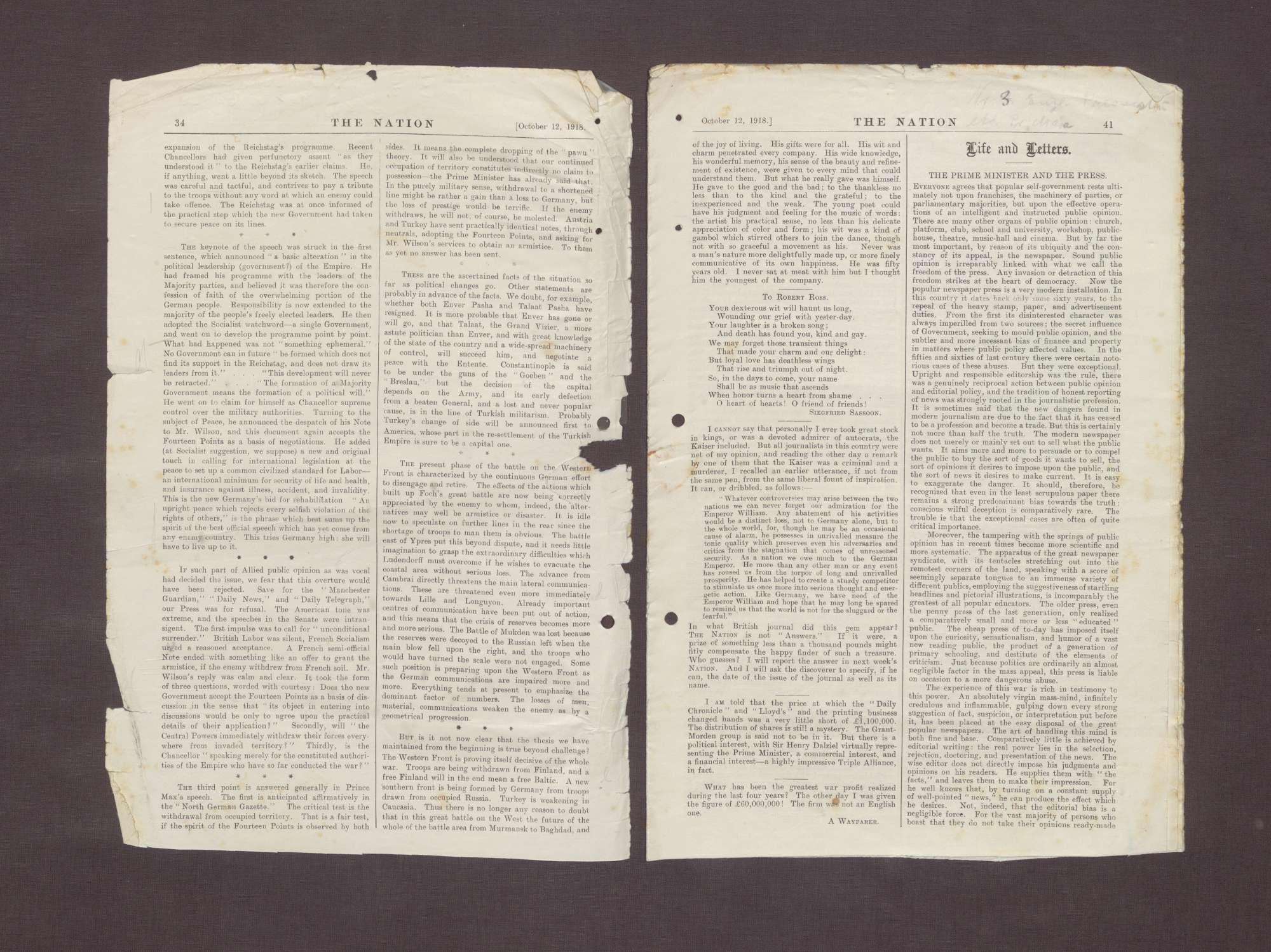 """Ausgabe von """"The Nation"""" mit einem Artikel über die Ernennung von Prinz Max zum Reichskanzler, Bild 2"""