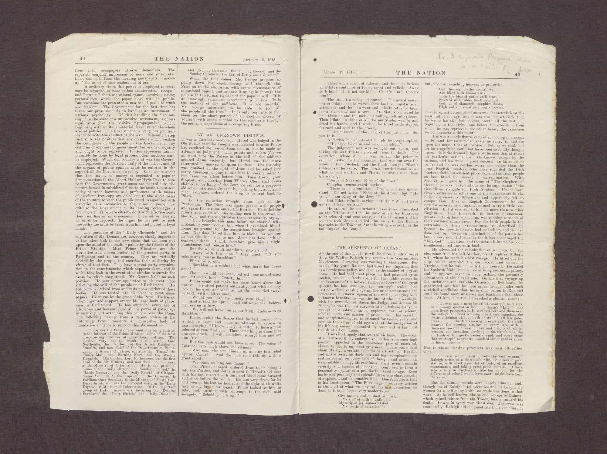 """Ausgabe von """"The Nation"""" mit einem Artikel über die Ernennung von Prinz Max zum Reichskanzler, Bild 3"""