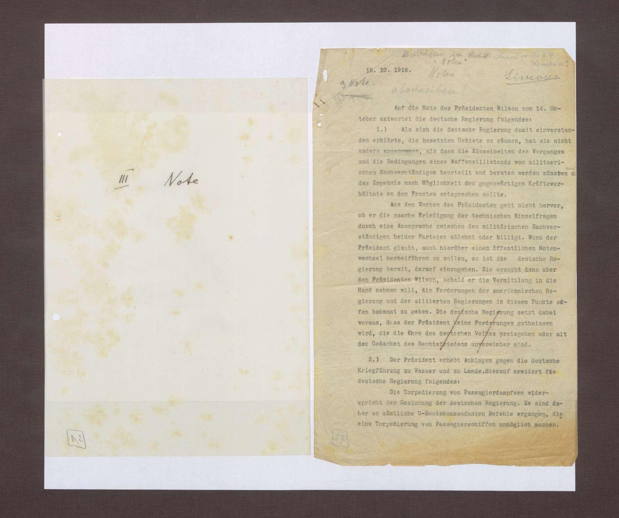 3. Note, 18.10.1918, Bild 1