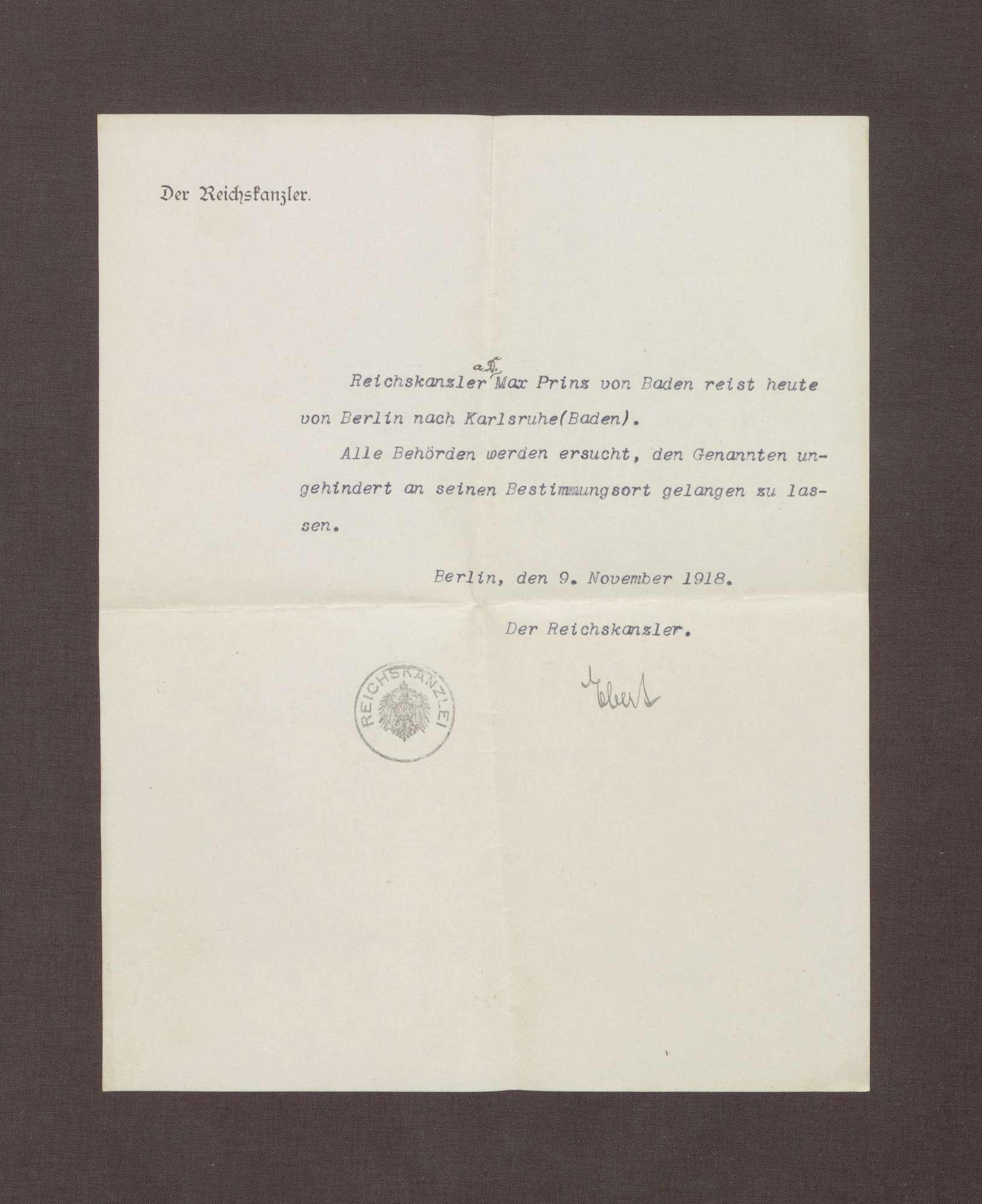 Schreiben von Friedrich Ebert; Passierschein für Prinz Max von Baden, Bild 1