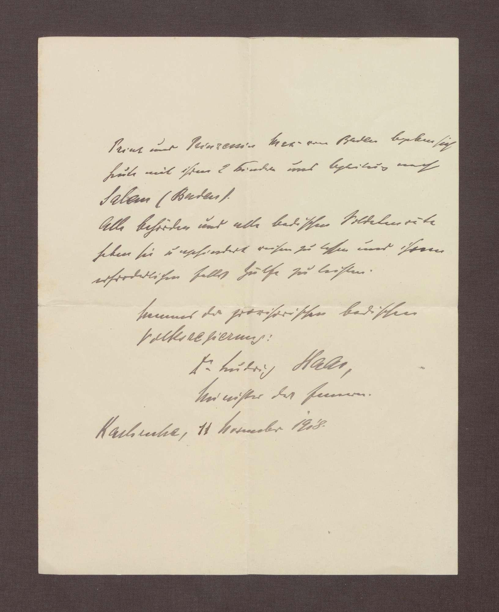 Schreiben von Ludwig Haas; Passierschein für Prinz Max von Baden, Bild 1
