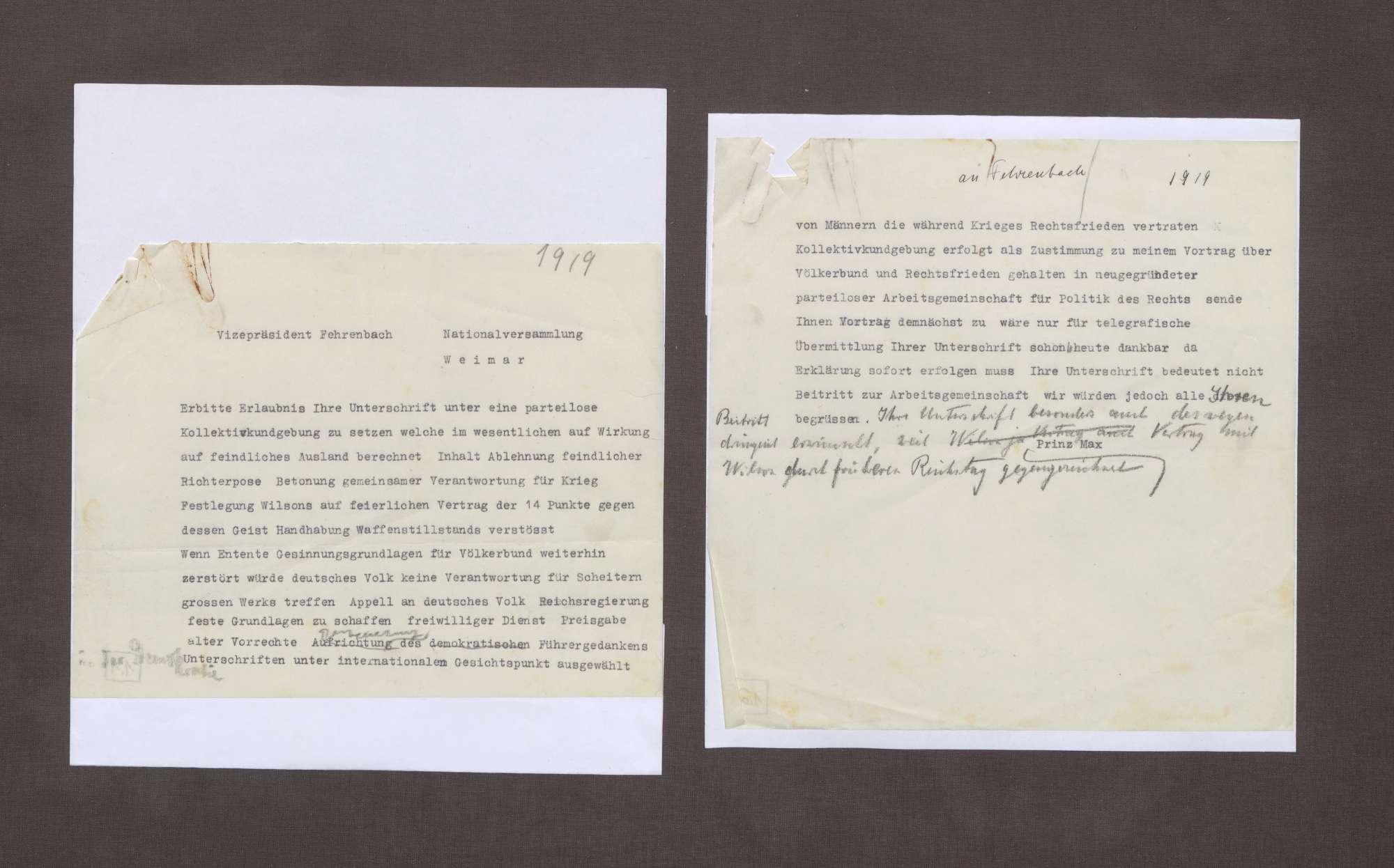 Schreiben von Prinz Max von Baden an Constantin Fehrenbach mit der Bitte, eine Kollektivkundgebung zu unterschreiben, Bild 1