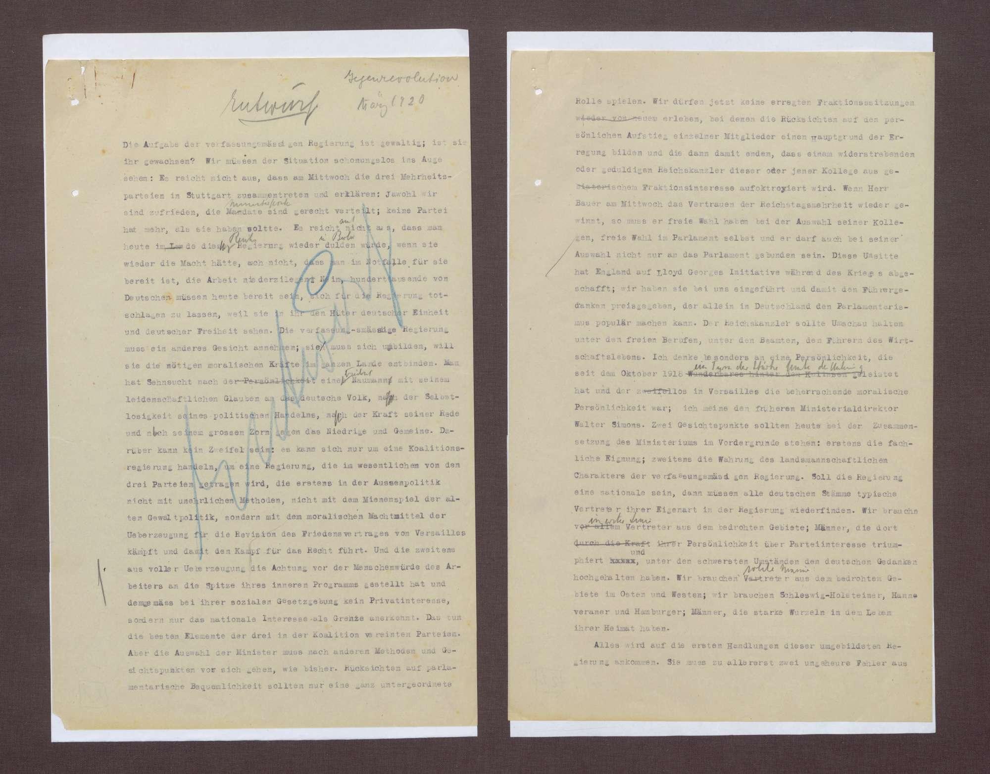 Entwürfe zur notwendigen Reaktion der Reichsreagierung auf den Kapp-Putsch, Bild 1