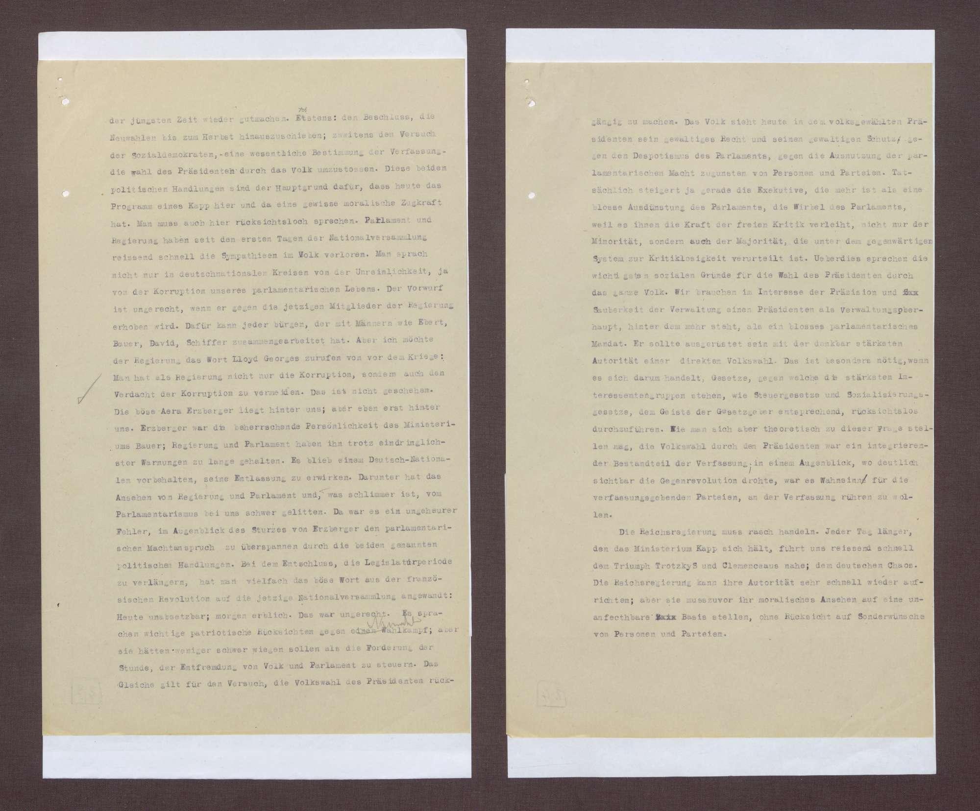 Entwürfe zur notwendigen Reaktion der Reichsreagierung auf den Kapp-Putsch, Bild 2