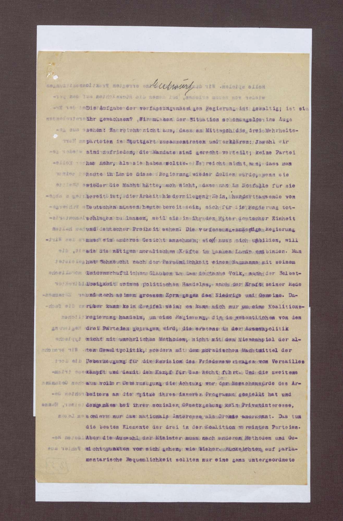 Entwürfe zur notwendigen Reaktion der Reichsreagierung auf den Kapp-Putsch, Bild 3