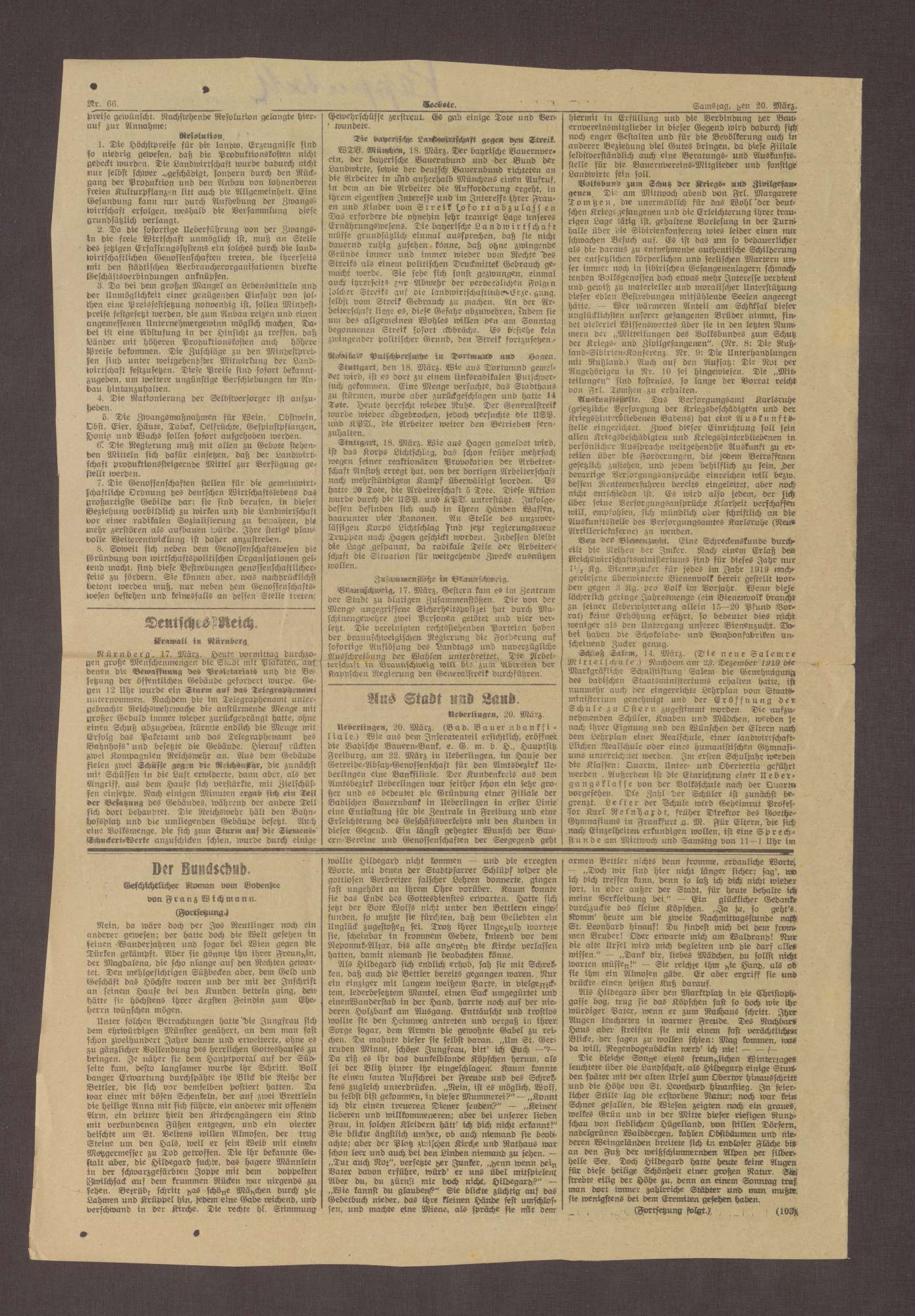 Ausgabe des Seebote mit einer Einschätzung von Prinz Max von Baden zur politischen Lage, Teil I., Bild 2