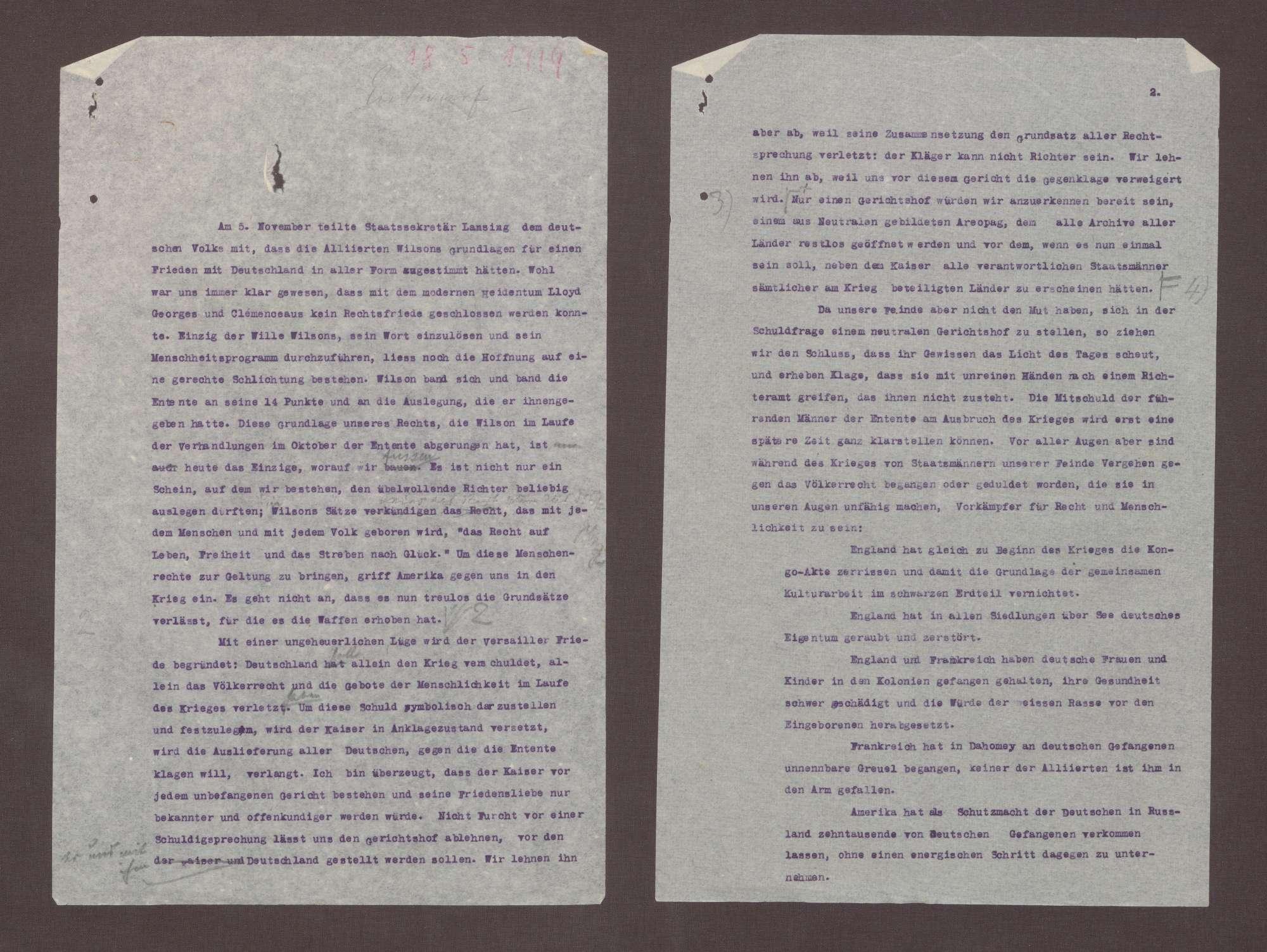 Entwurf eines Artikels für die Badische Landeszeitung über die 14 Punkte von Wilson als Grundlage eines Friedens mit Deutschland, Bild 1