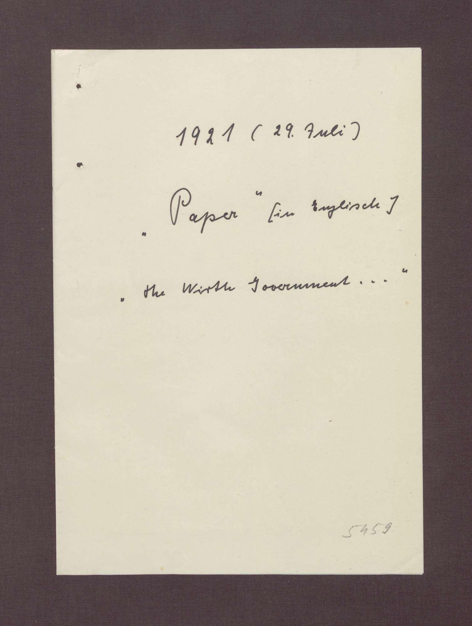 """Schreiben: """"Paper"""" David Lloyd George mit einer Einschätzung über die Regierung Wirth und zur politischen Lage in Deutschland, Bild 1"""