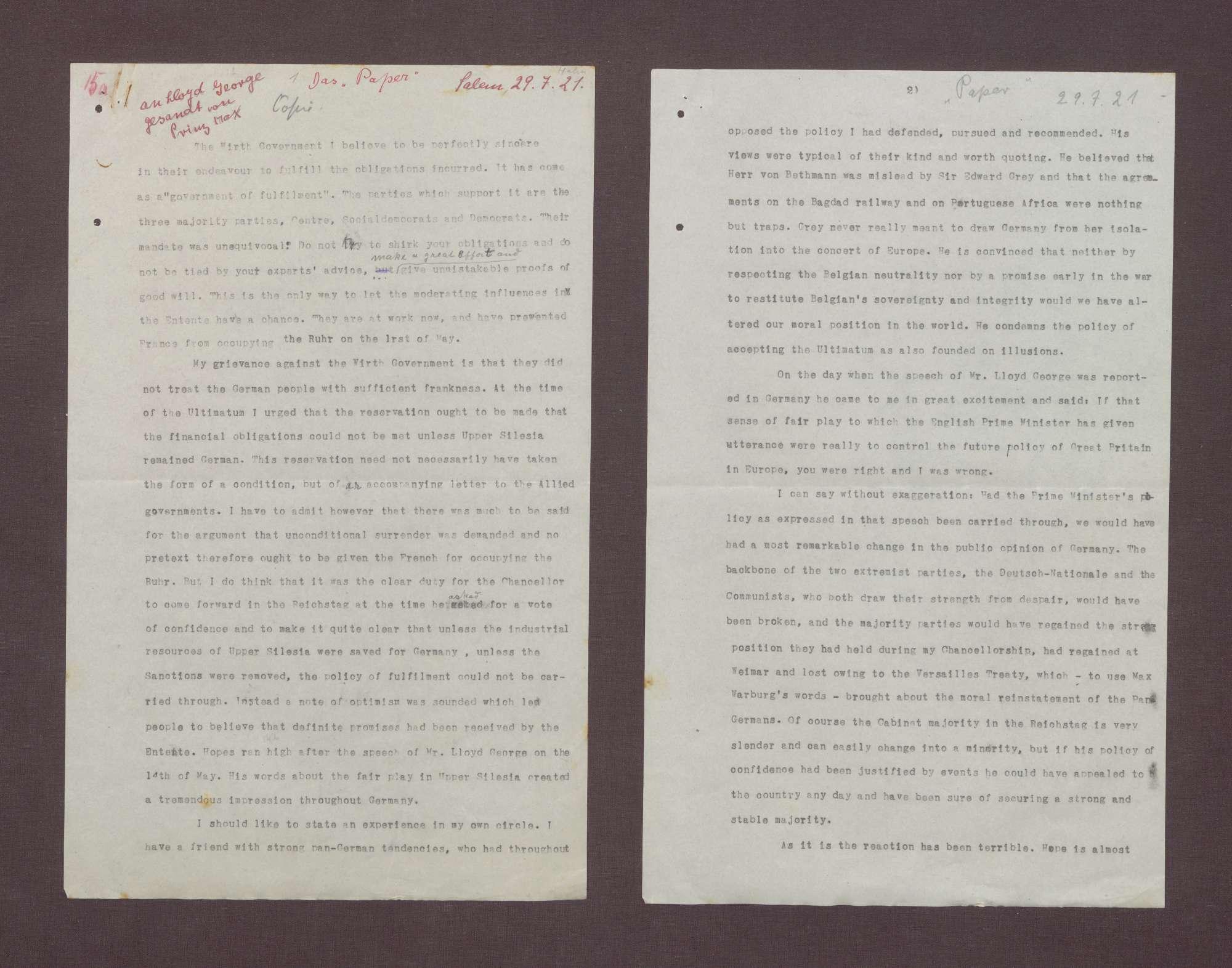 """Schreiben: """"Paper"""" David Lloyd George mit einer Einschätzung über die Regierung Wirth und zur politischen Lage in Deutschland, Bild 2"""