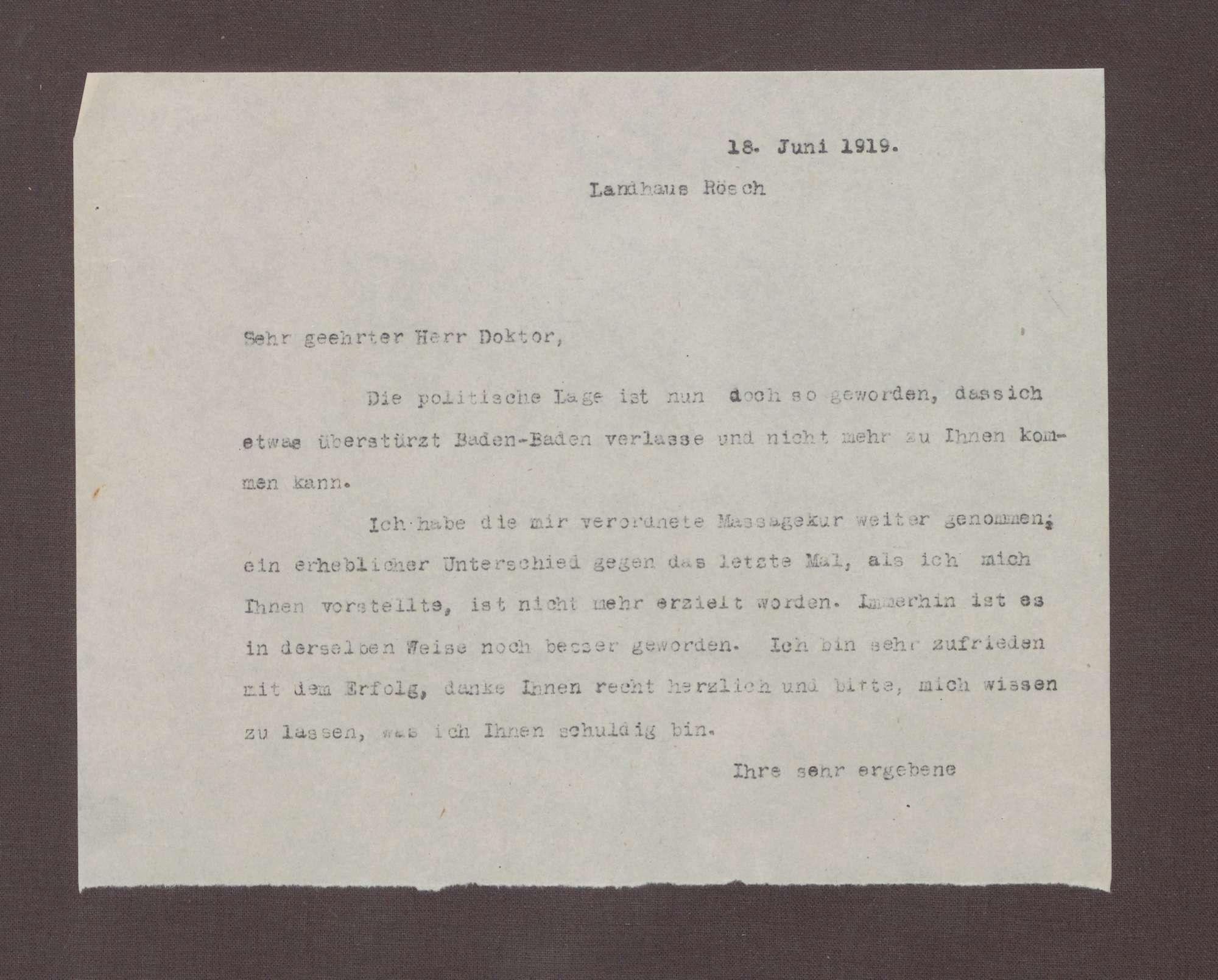 Schreiben [von Lina Richter?] an einen Doktor; überstürzte Abreise aus Baden-Baden, Bild 1