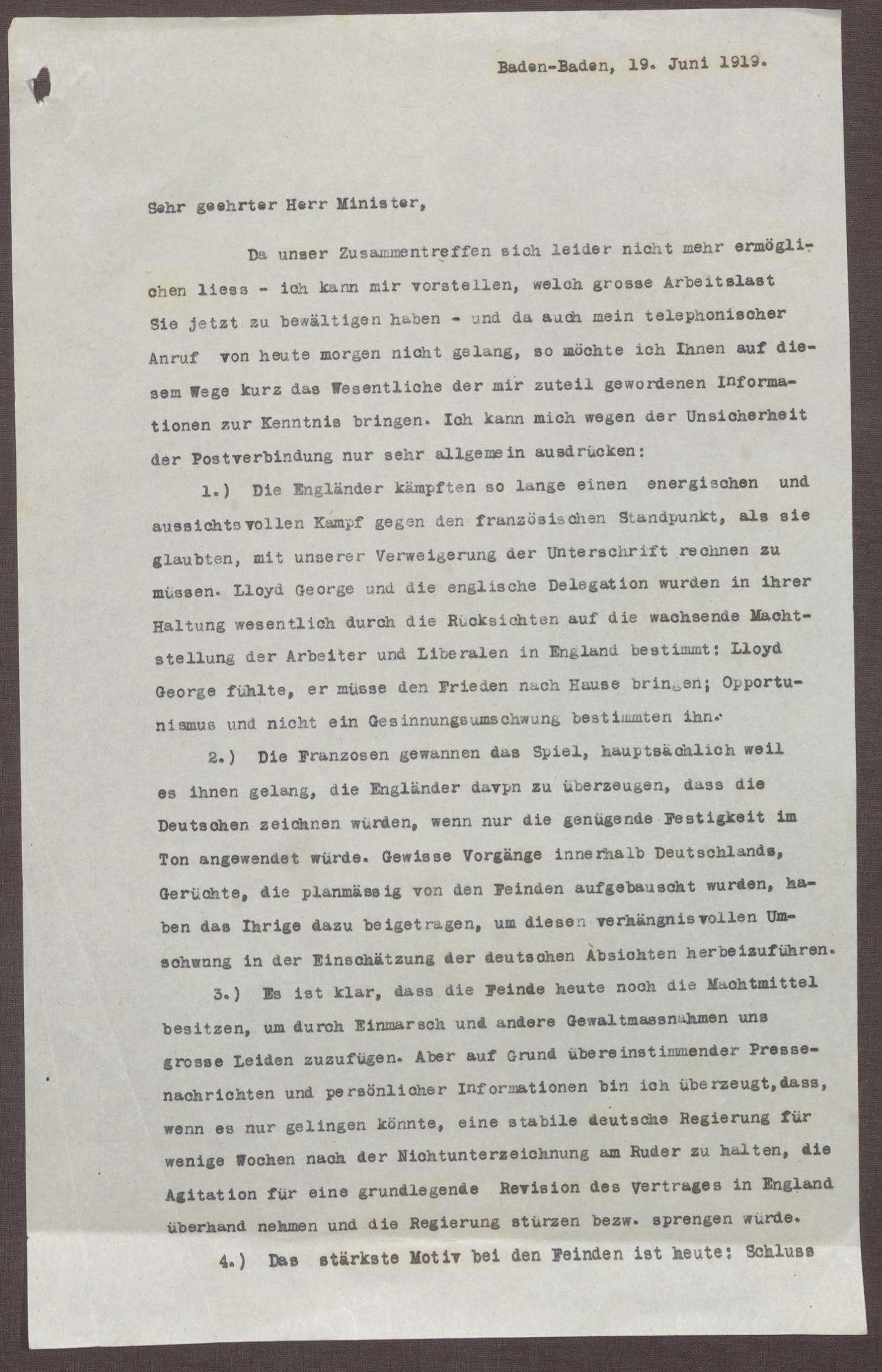 Schreiben von Prinz Max von Baden an Ludwig Haas; Ablehnung des Friedensvertrags, Verhältnis der Reichsregierung zu Preußen und zum Heer, Bild 1