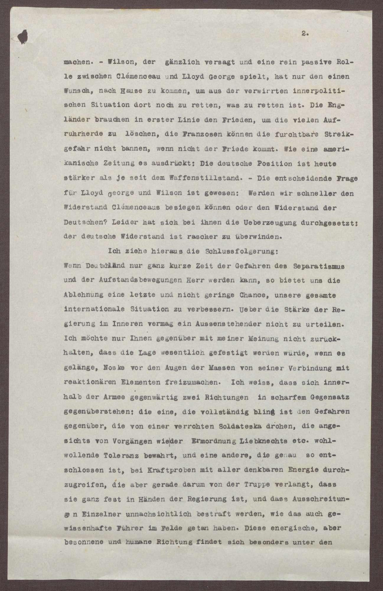 Schreiben von Prinz Max von Baden an Ludwig Haas; Ablehnung des Friedensvertrags, Verhältnis der Reichsregierung zu Preußen und zum Heer, Bild 2