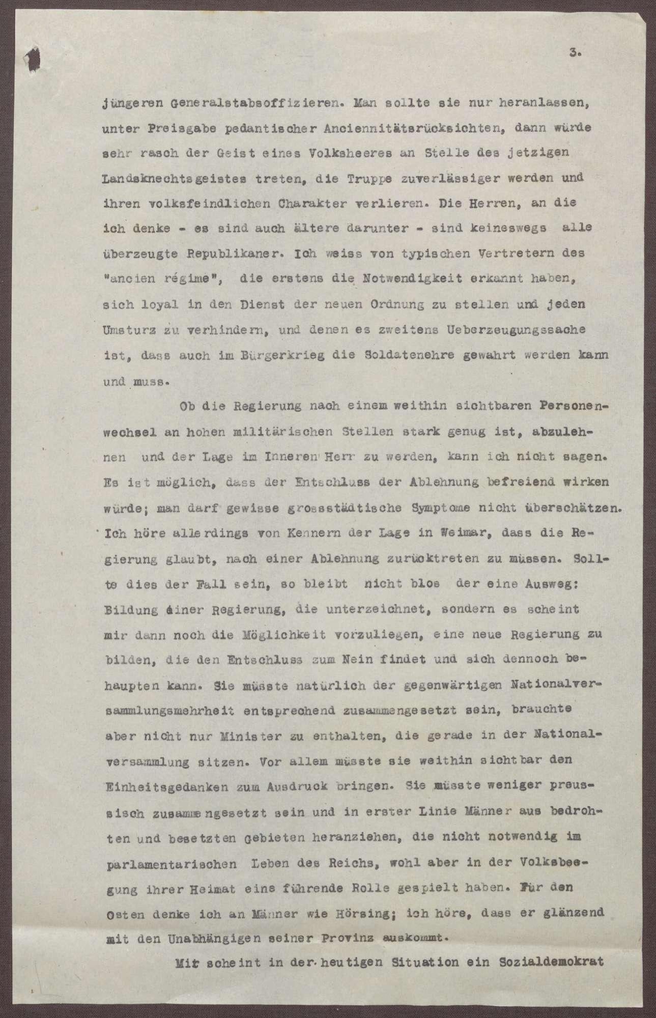 Schreiben von Prinz Max von Baden an Ludwig Haas; Ablehnung des Friedensvertrags, Verhältnis der Reichsregierung zu Preußen und zum Heer, Bild 3