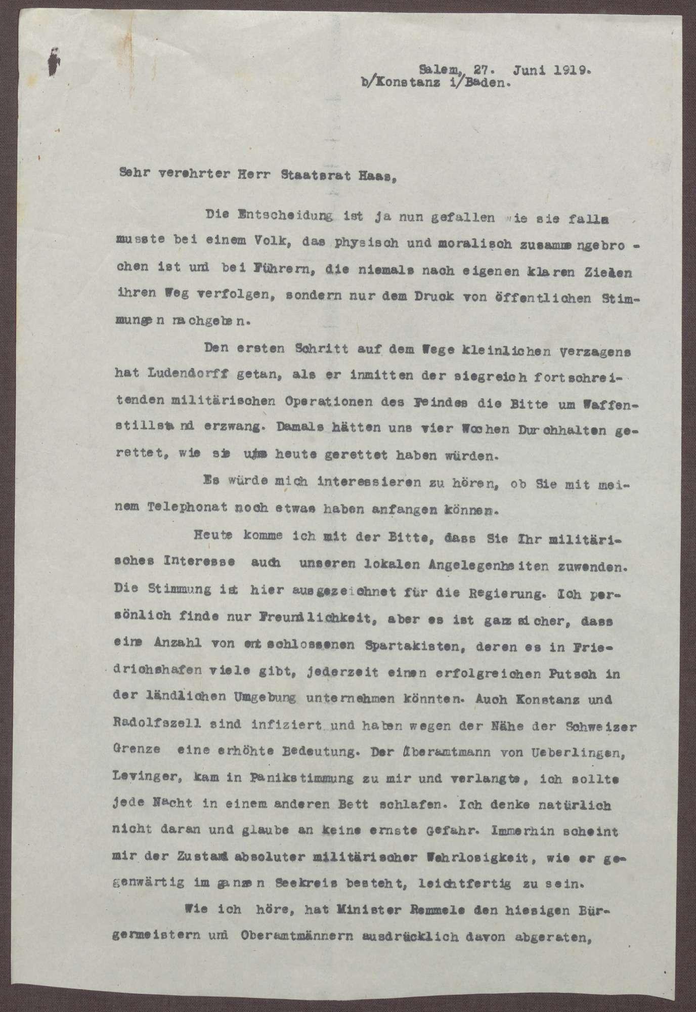 Schreiben von Prinz Max von Baden an Ludwig Haas; Spartakisten am Bodensee, Verbot der Bewaffnung durch Minister Adam Remmele, Bild 1