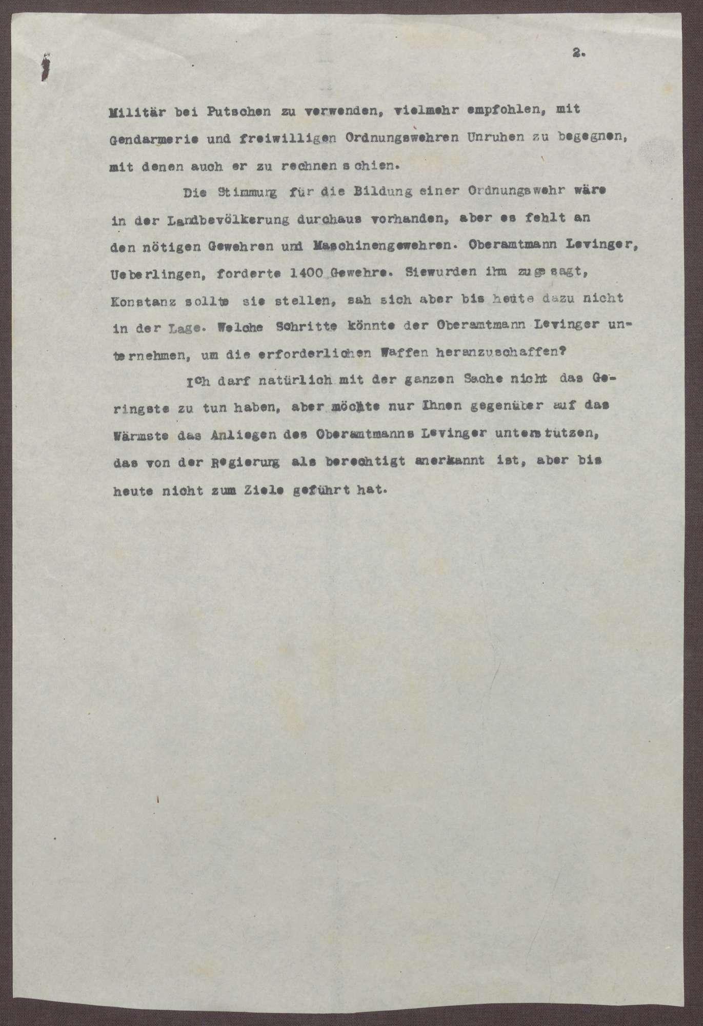 Schreiben von Prinz Max von Baden an Ludwig Haas; Spartakisten am Bodensee, Verbot der Bewaffnung durch Minister Adam Remmele, Bild 2