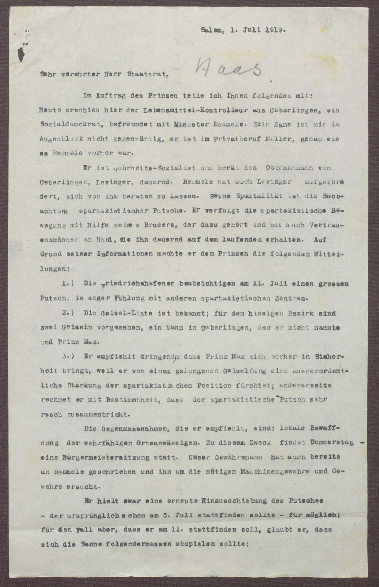 Schreiben von Kurt Hahn an Ludwig Haas; Unmittelbare Gefahr eines spartakitischen Putsches in Friedrichshafen und anderen Städten des Bodensees, Bild 1