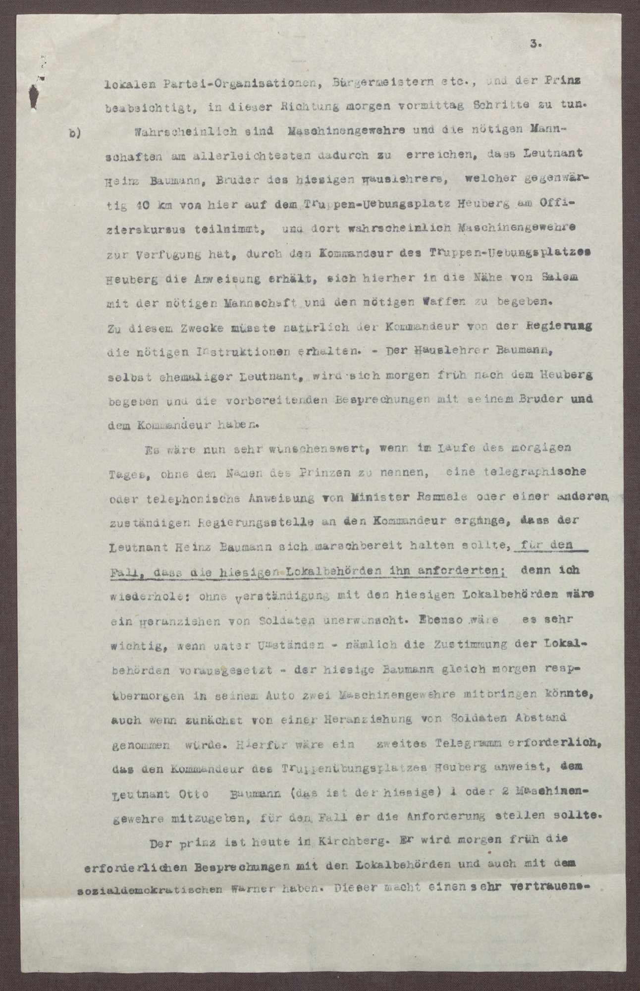 Schreiben von Kurt Hahn an Ludwig Haas; Unmittelbare Gefahr eines spartakitischen Putsches in Friedrichshafen und anderen Städten des Bodensees, Bild 3