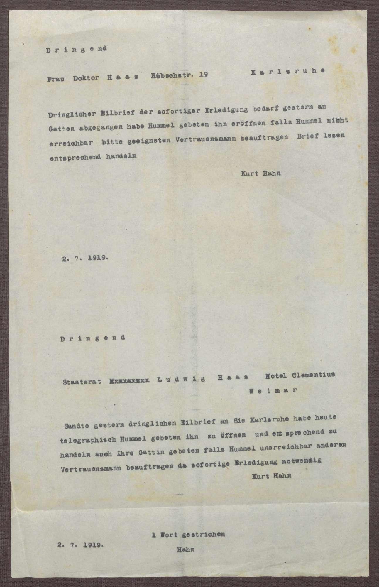 Schreiben von Kurt Hahn an Ludwig Haas; Bitte um schnelle Antwort auf einen vertraulichen Brief, Bild 1