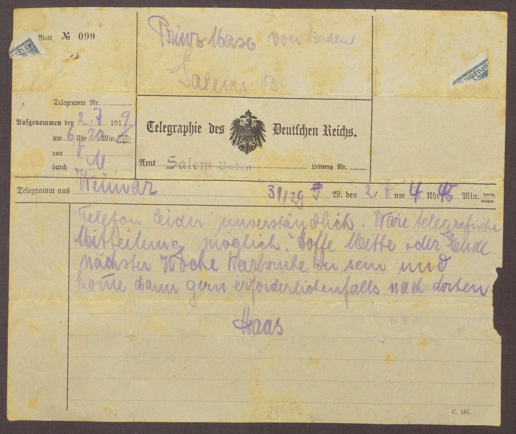 Schreiben von Kurt Hahn an Ludwig Haas; Bitte um schnelle Antwort auf einen vertraulichen Brief, Bild 2