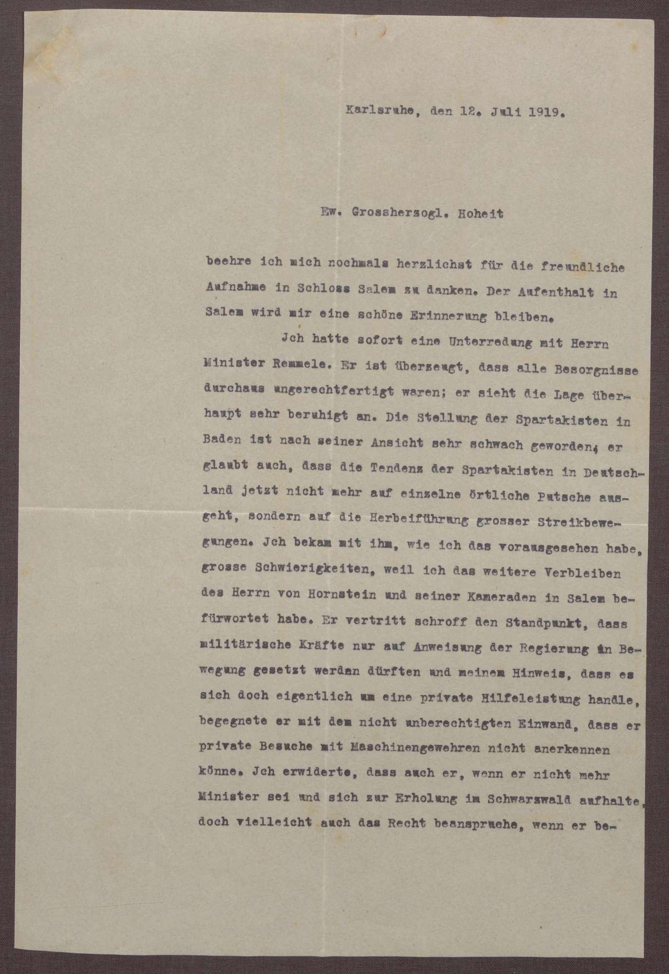 Schreiben von Ludwig Haas an Prinz Max von Baden; Unterredung mit Adam Remmele über die Spartakisten im Seekreis und die Flucht der Familie des Prinzen Max in die Schweiz, Bild 1