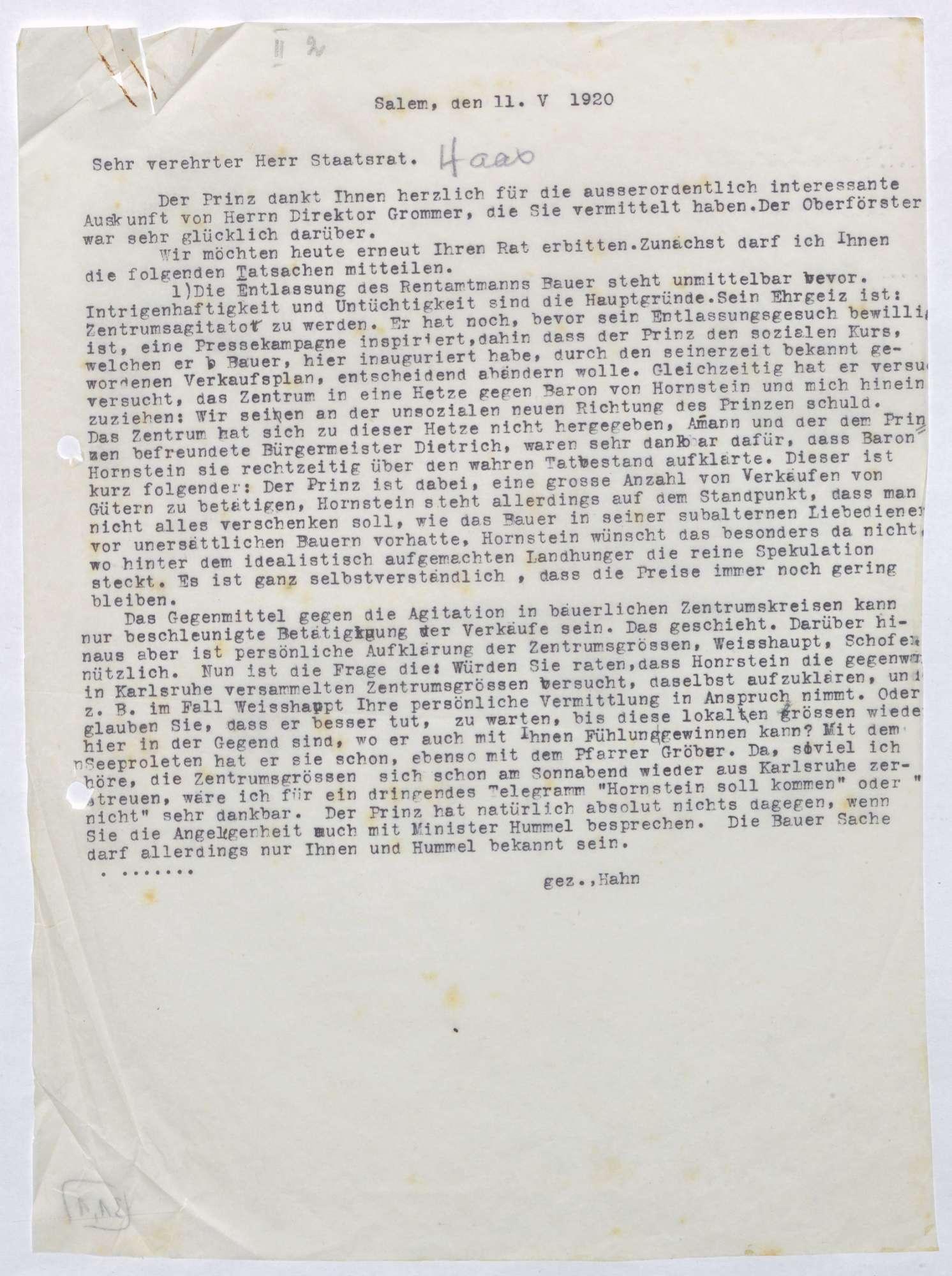 Schreiben von Kurt Hahn an Ludwig Haas; Entlassung des Salemer Rentamtmanns Bauer, Politik des Zentrums gegen Salem; zweifache Ausgabe, Bild 1