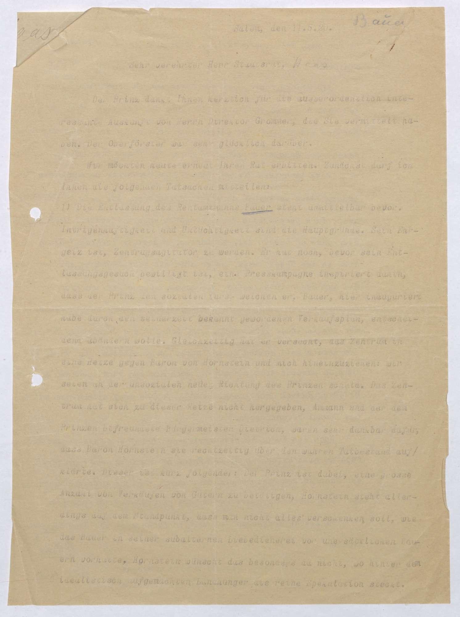 Schreiben von Kurt Hahn an Ludwig Haas; Entlassung des Salemer Rentamtmanns Bauer, Politik des Zentrums gegen Salem; zweifache Ausgabe, Bild 2