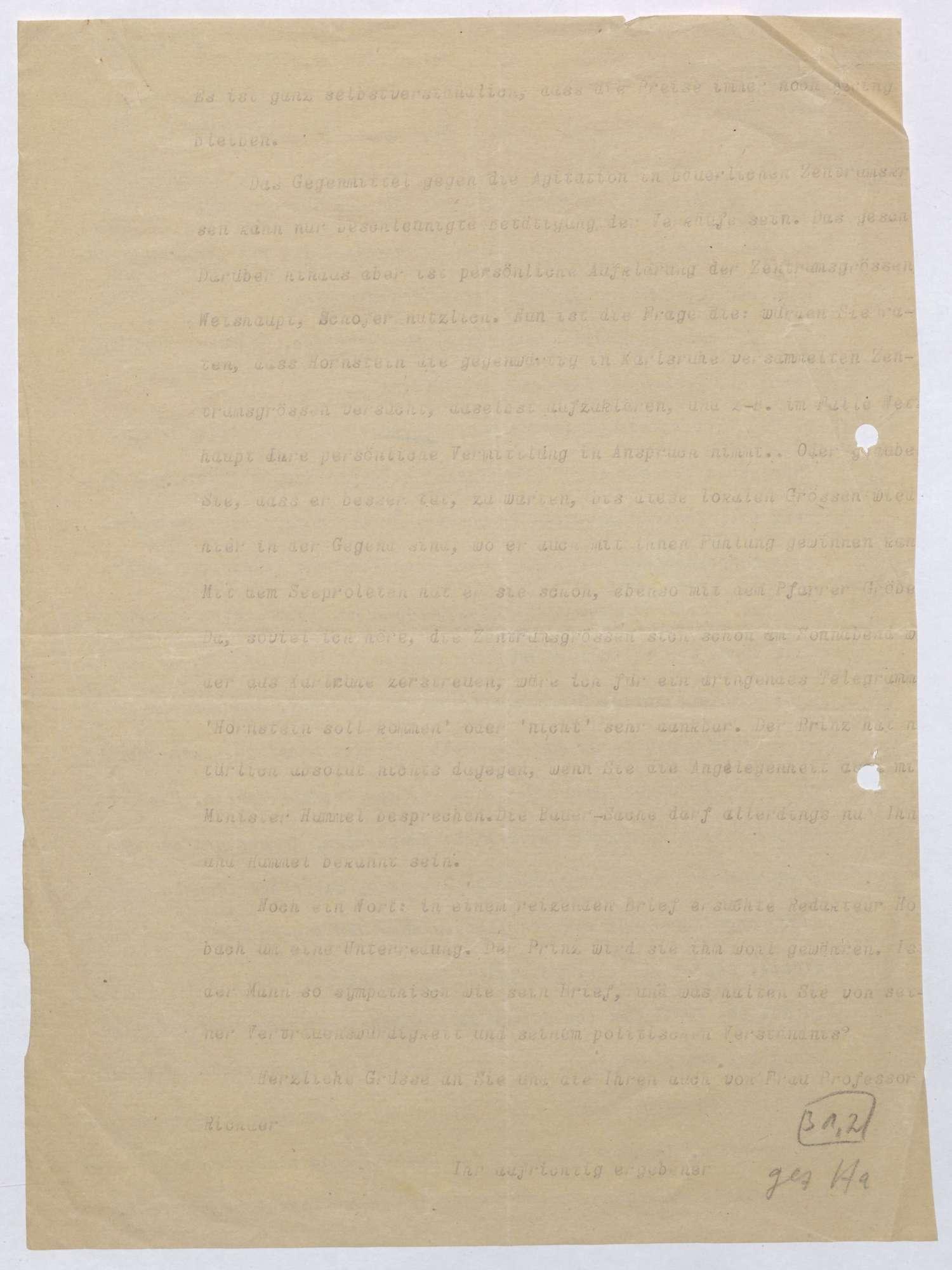 Schreiben von Kurt Hahn an Ludwig Haas; Entlassung des Salemer Rentamtmanns Bauer, Politik des Zentrums gegen Salem; zweifache Ausgabe, Bild 3