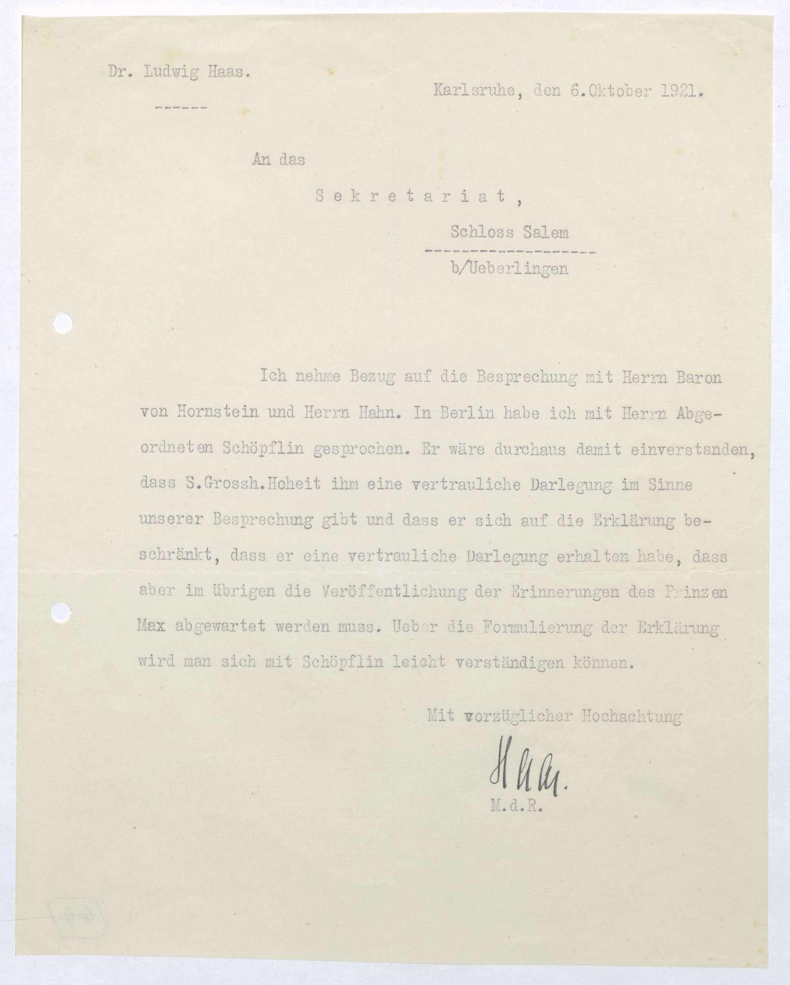 Schreiben von Ludwig Haas an Prinz Max von Baden; Besprechung mit Georg Schöpflin, Bild 1