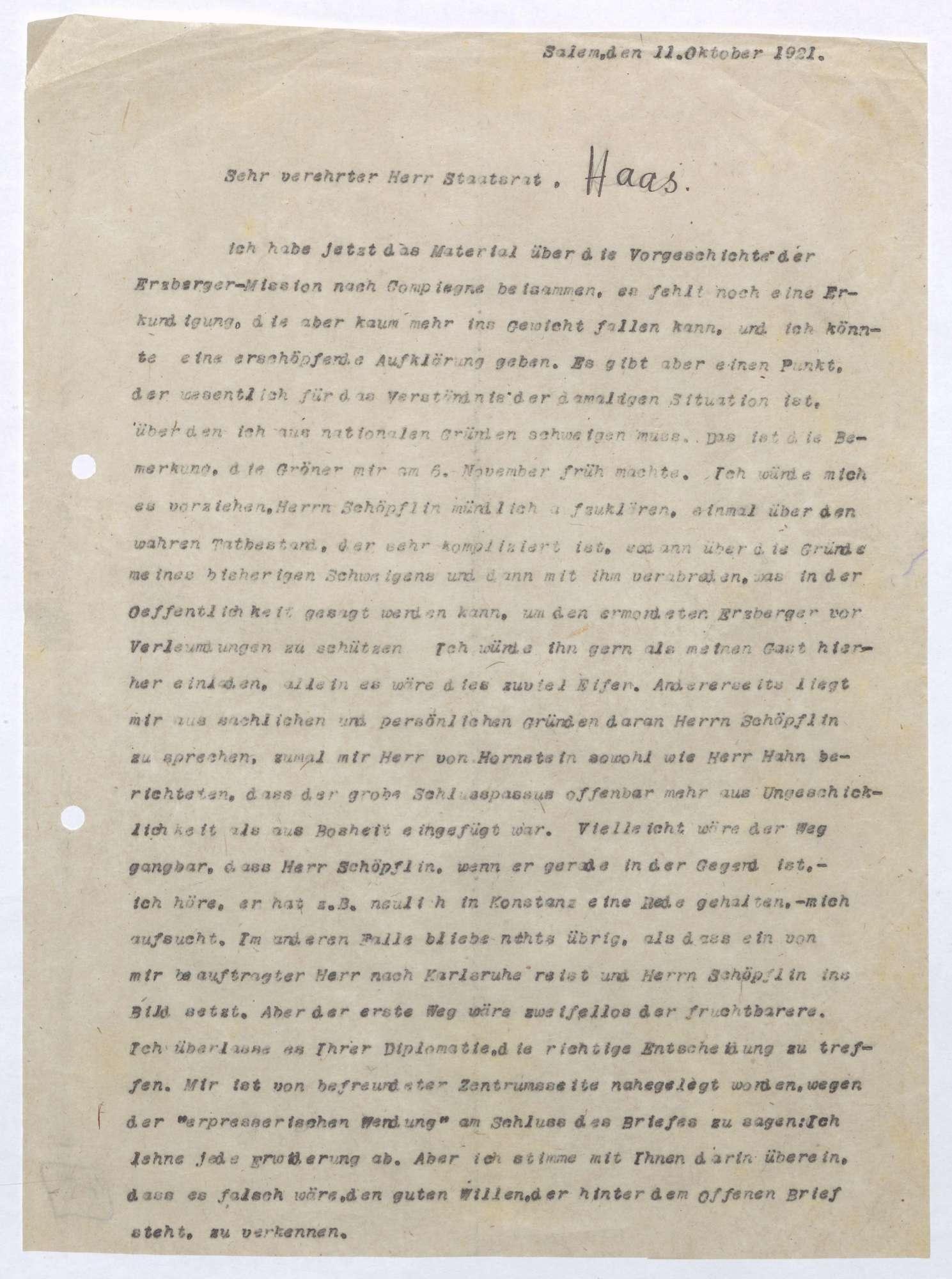 Schreiben von Prinz Max von Baden an Ludwig Haas; Einladung von Georg Schöpflin nach Salem und die Vorgeschichte des Waffenstillstands, Bild 1