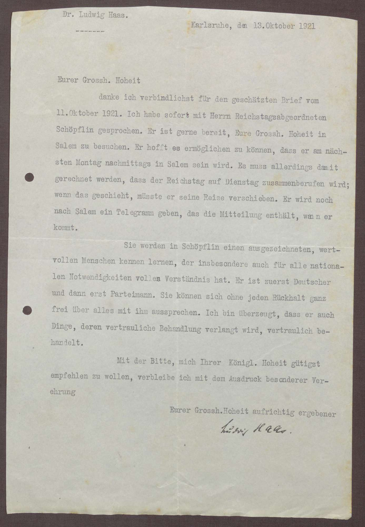 Korrespondenz zwischen Ludwig Haas und Prinz Max von Baden; Besuch von Georg Schöpfin in Salem, Bild 1