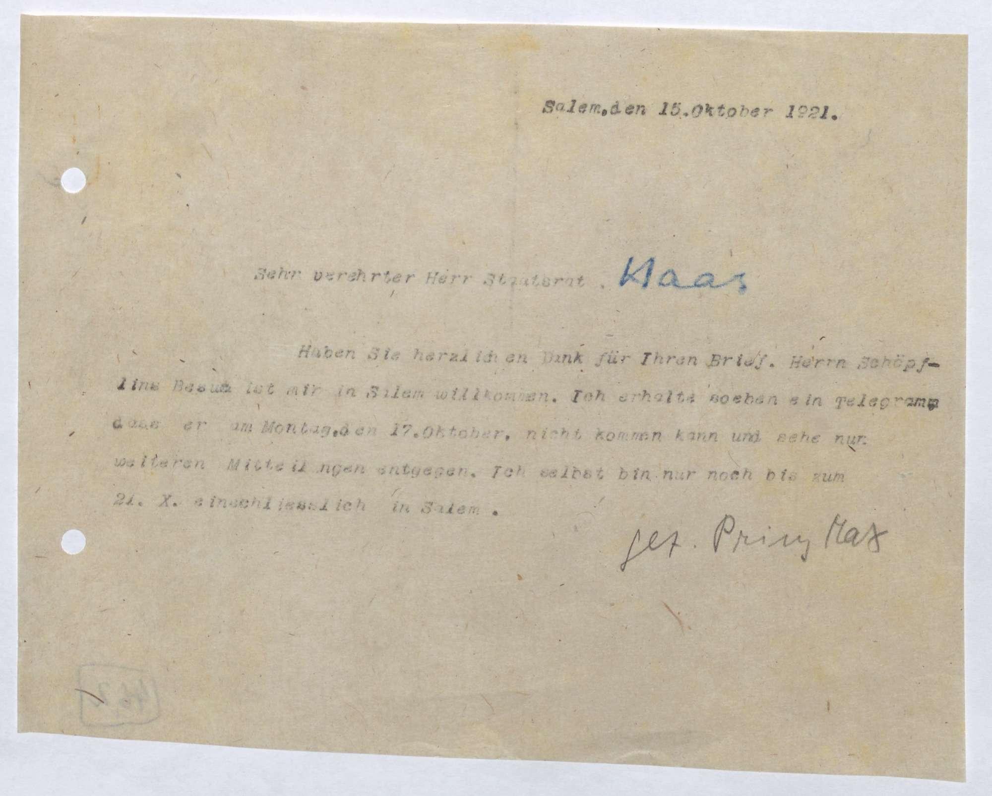 Korrespondenz zwischen Ludwig Haas und Prinz Max von Baden; Besuch von Georg Schöpfin in Salem, Bild 2