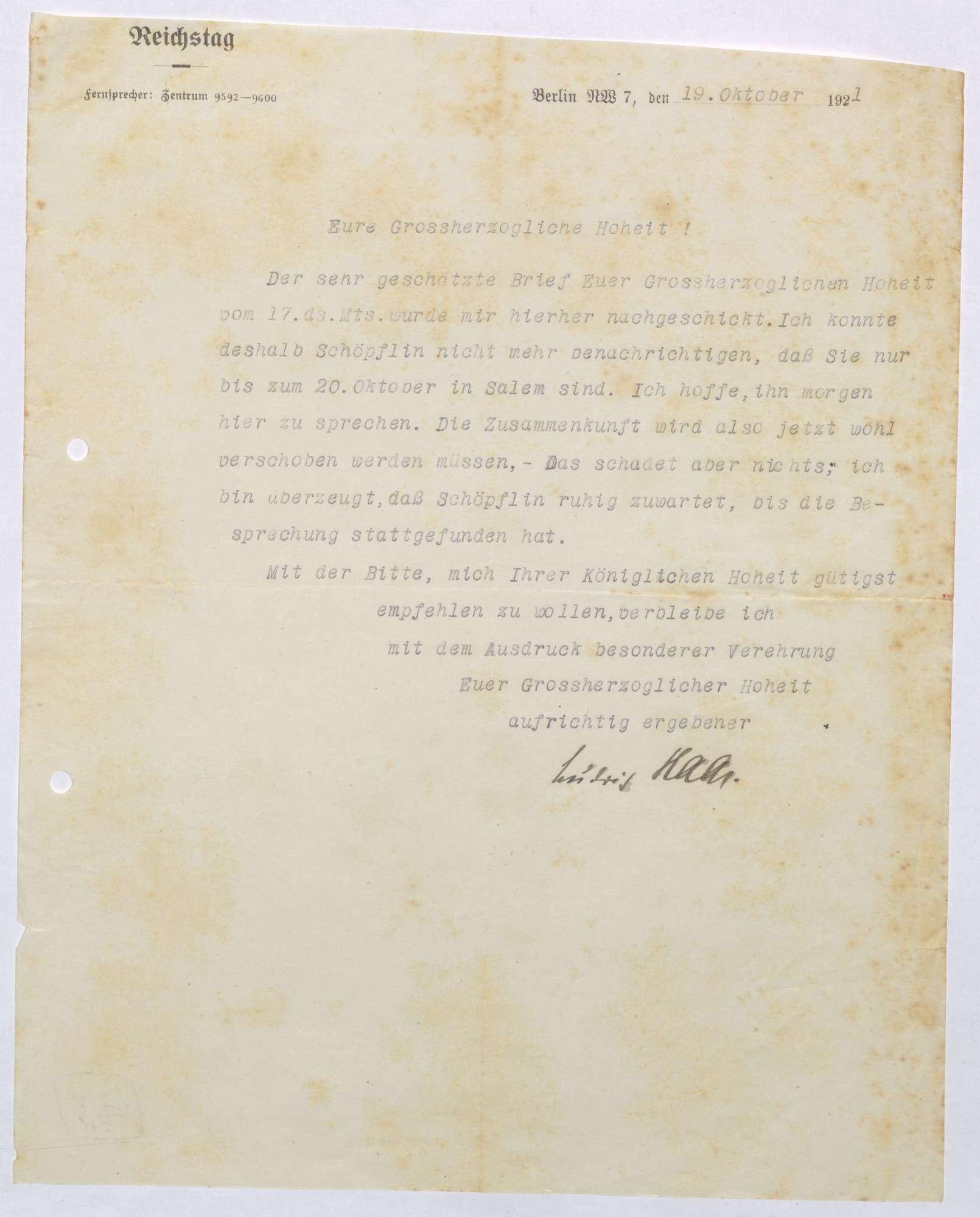 Korrespondenz zwischen Ludwig Haas und Prinz Max von Baden; Besuch von Georg Schöpfin in Salem, Bild 3