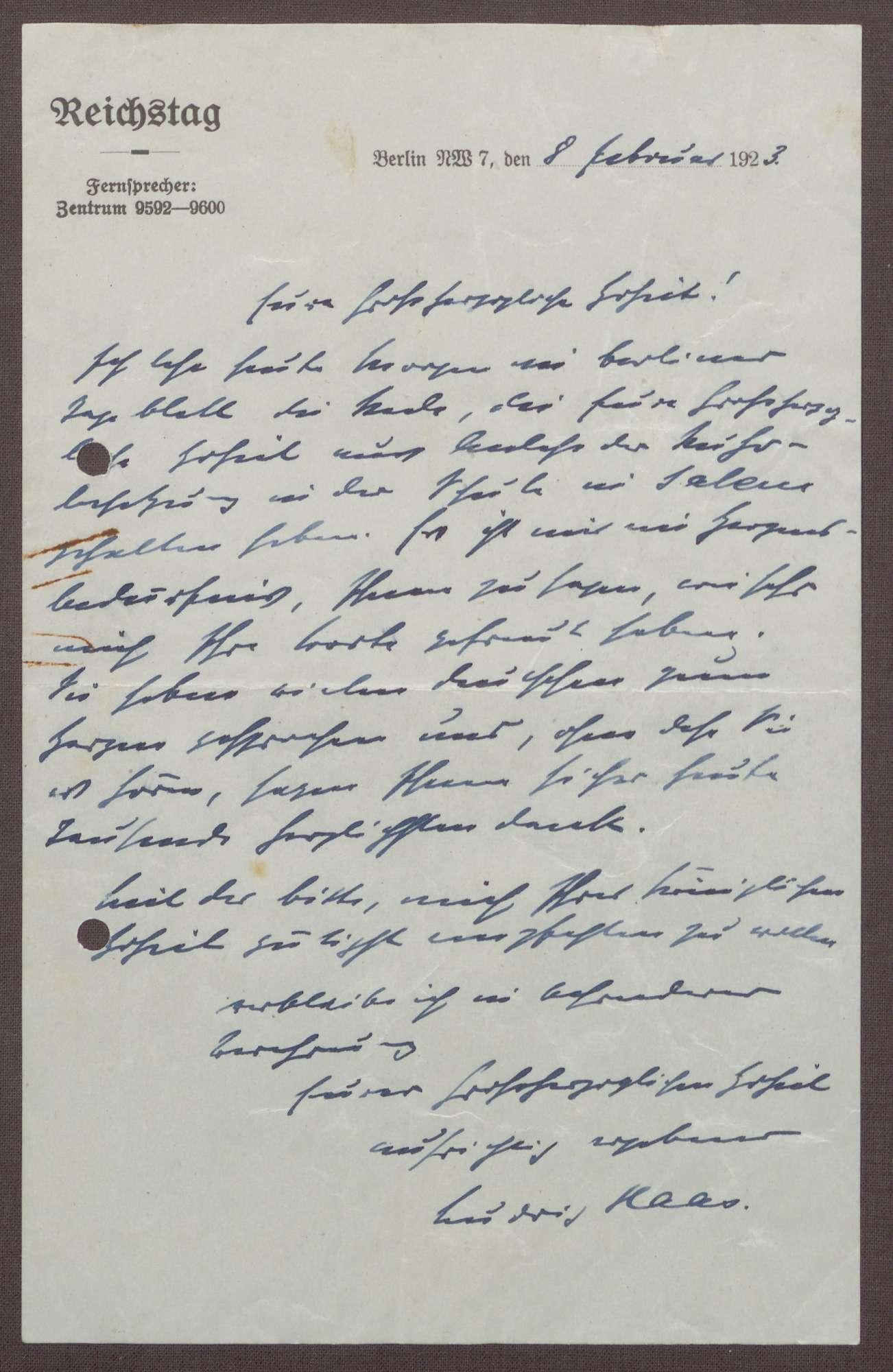 Korrespondenz zwischen Prinz Max von Baden und Ludwig Haas; Ruhrbesetzung und die Möglichkeit einer englisch-amerikanischen Intervention, Bild 1