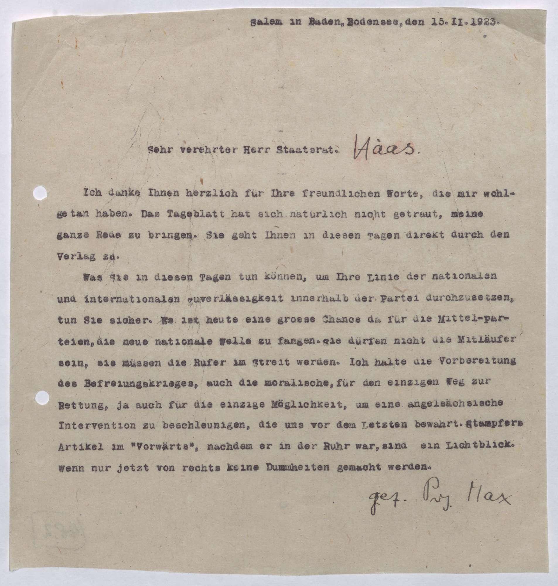 Korrespondenz zwischen Prinz Max von Baden und Ludwig Haas; Ruhrbesetzung und die Möglichkeit einer englisch-amerikanischen Intervention, Bild 2