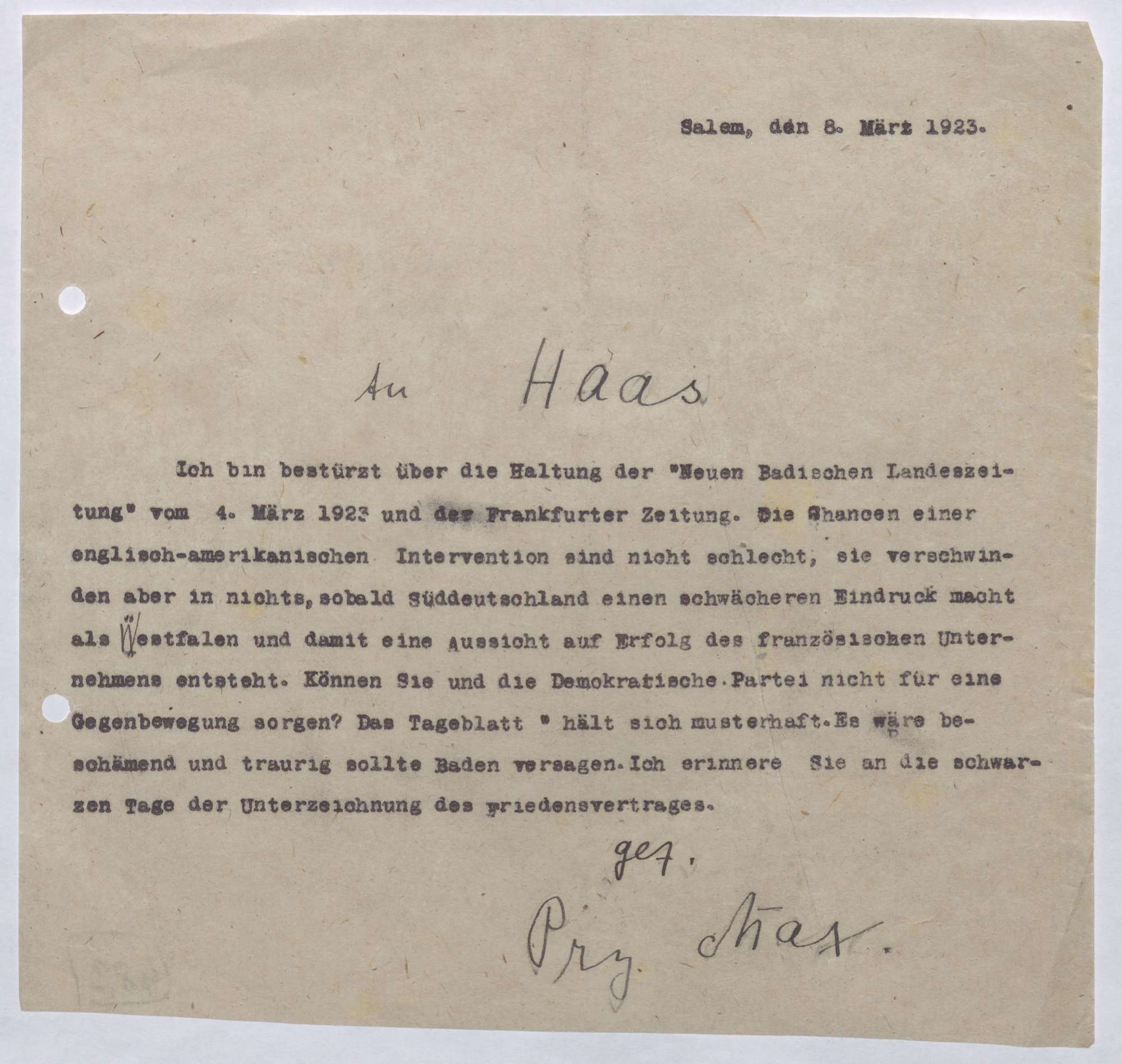 Korrespondenz zwischen Prinz Max von Baden und Ludwig Haas; Ruhrbesetzung und die Möglichkeit einer englisch-amerikanischen Intervention, Bild 3