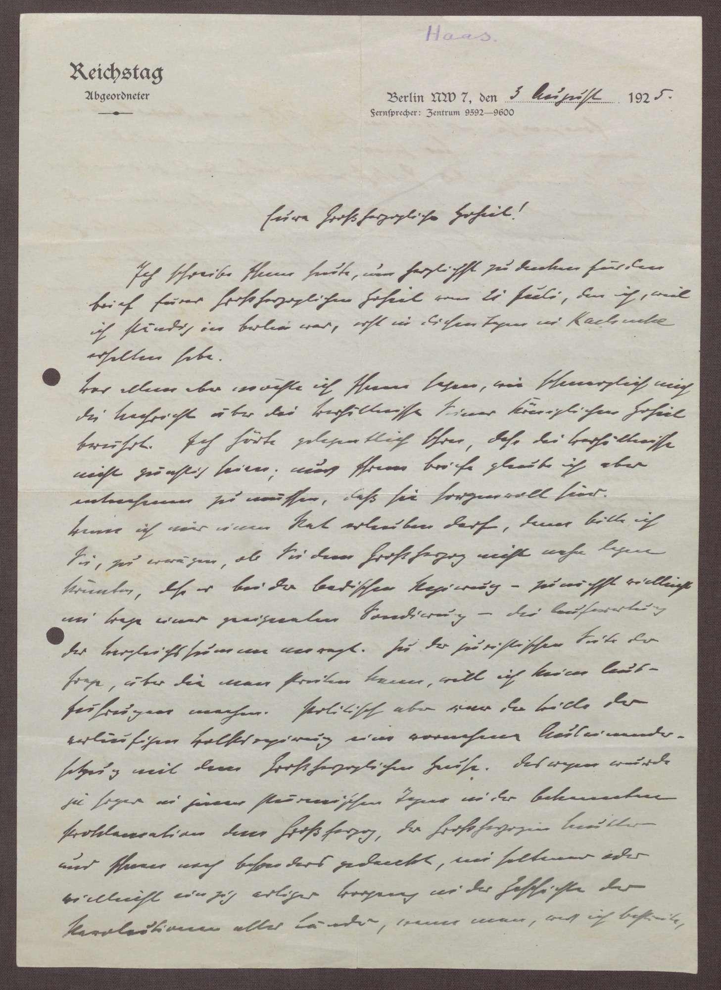 Schreiben von Ludwig Haas an Prinz Max von Baden; Ausgleichsverhandlungen bzgl. der Fürstenabfindung zwischen dem Land Baden und Großherzog Friedrich II., Bild 1