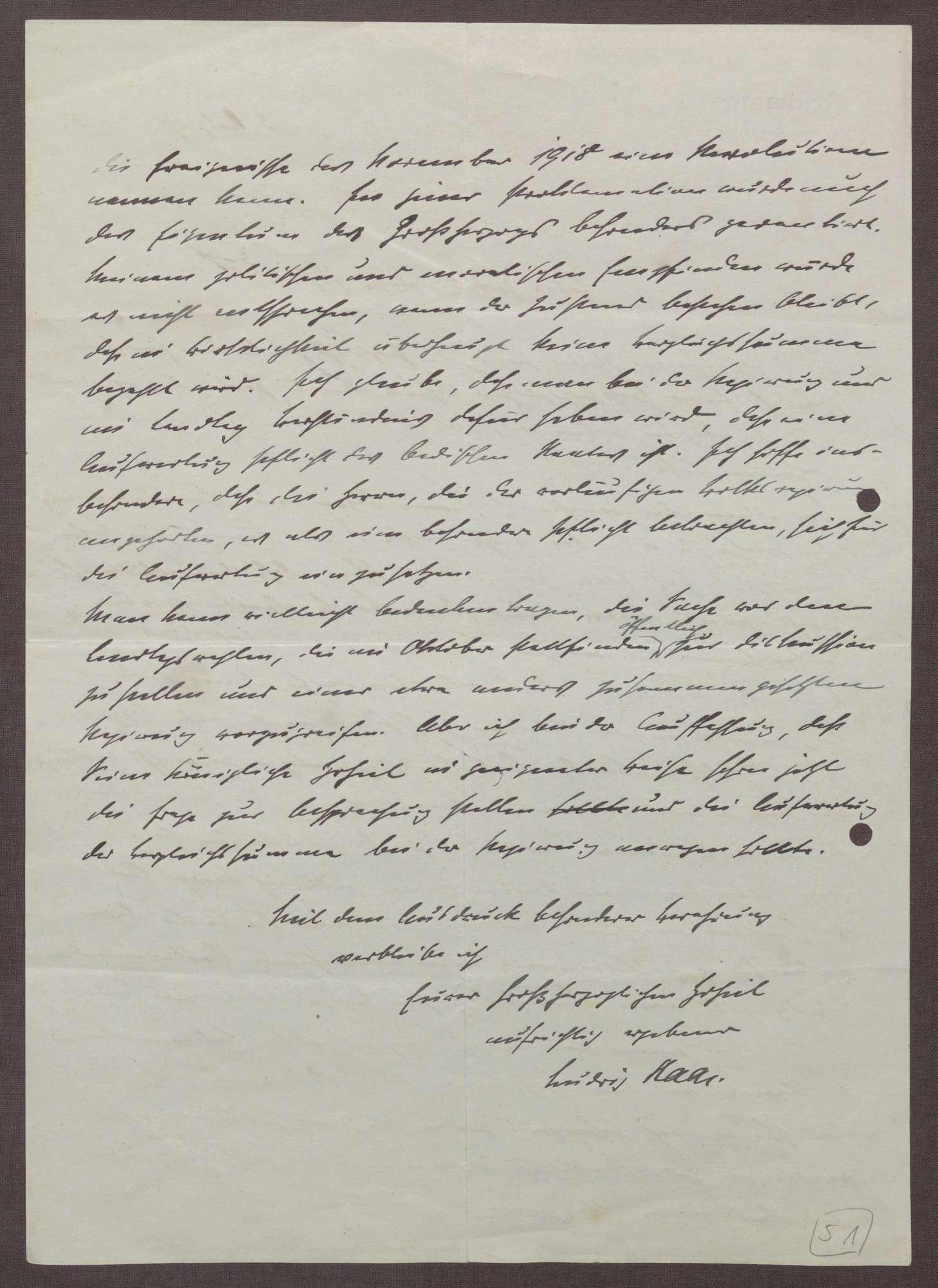 Schreiben von Ludwig Haas an Prinz Max von Baden; Ausgleichsverhandlungen bzgl. der Fürstenabfindung zwischen dem Land Baden und Großherzog Friedrich II., Bild 2