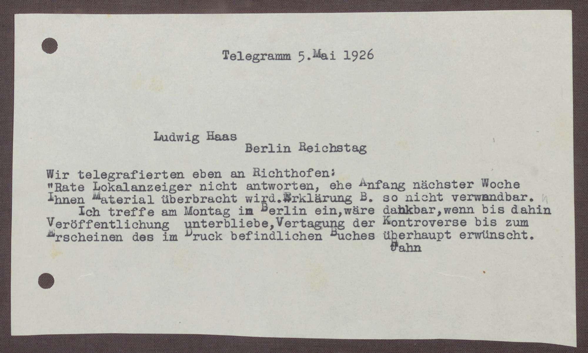 Telegramm von Kurt Hahn an Ludwig Haas; Veröffentlichung einer Stellungnahme von Hartmann von Richthofen, Bild 1