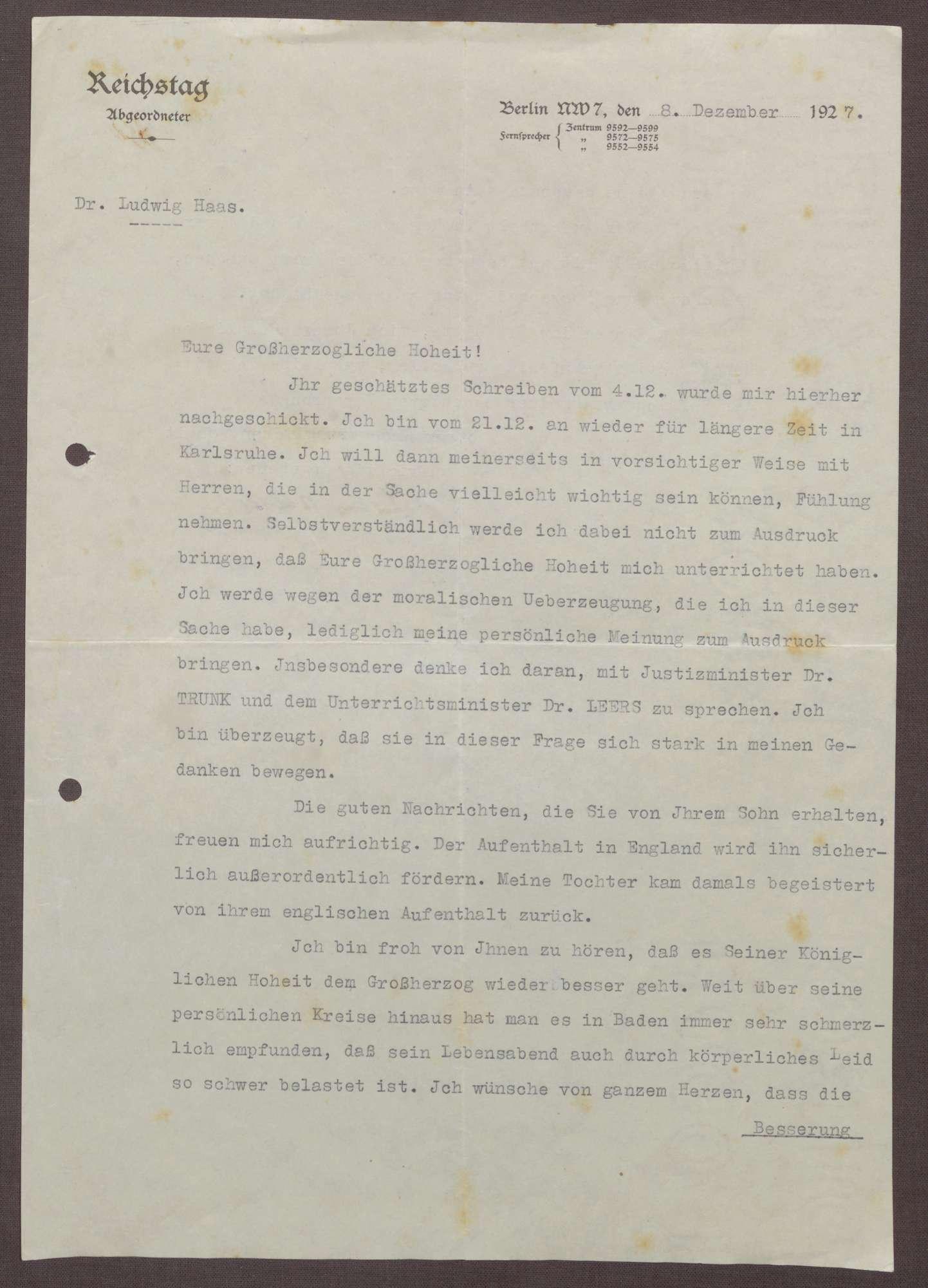 Schreiben von Ludwig Haas an Prinz Max von Baden; Aufenthalt von Prinz Berthold in England und eine Unterredung mit Gustav Trunk und Otto Leers, Bild 1