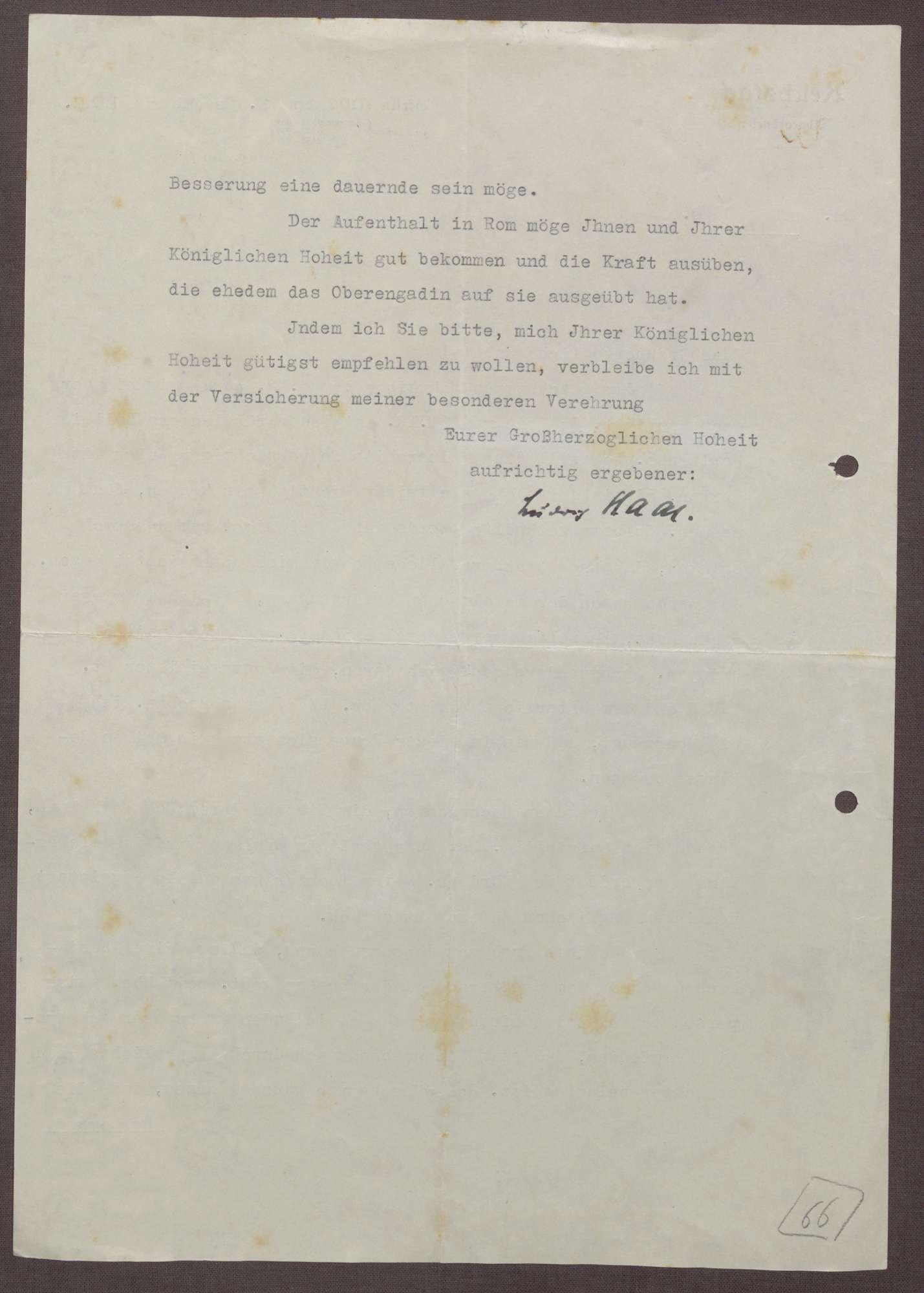 Schreiben von Ludwig Haas an Prinz Max von Baden; Aufenthalt von Prinz Berthold in England und eine Unterredung mit Gustav Trunk und Otto Leers, Bild 2