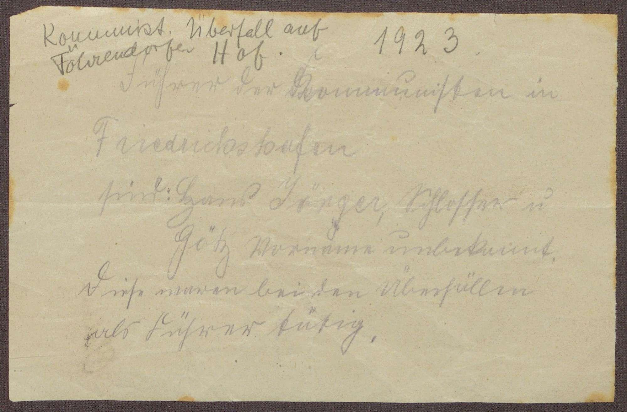 Notizen zu möglichen Tätern des kommunistischen Überfalls bei Pfullendorf und dem Flurschutz, Bild 2