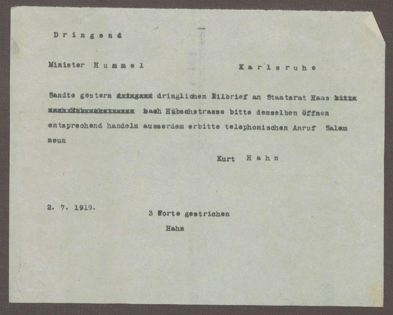 Schreiben von Kurt Hahn an Hermann Hummel; Schreiben an Ludwig Haas und Bitte um einen Anruf in Salem, Bild 1