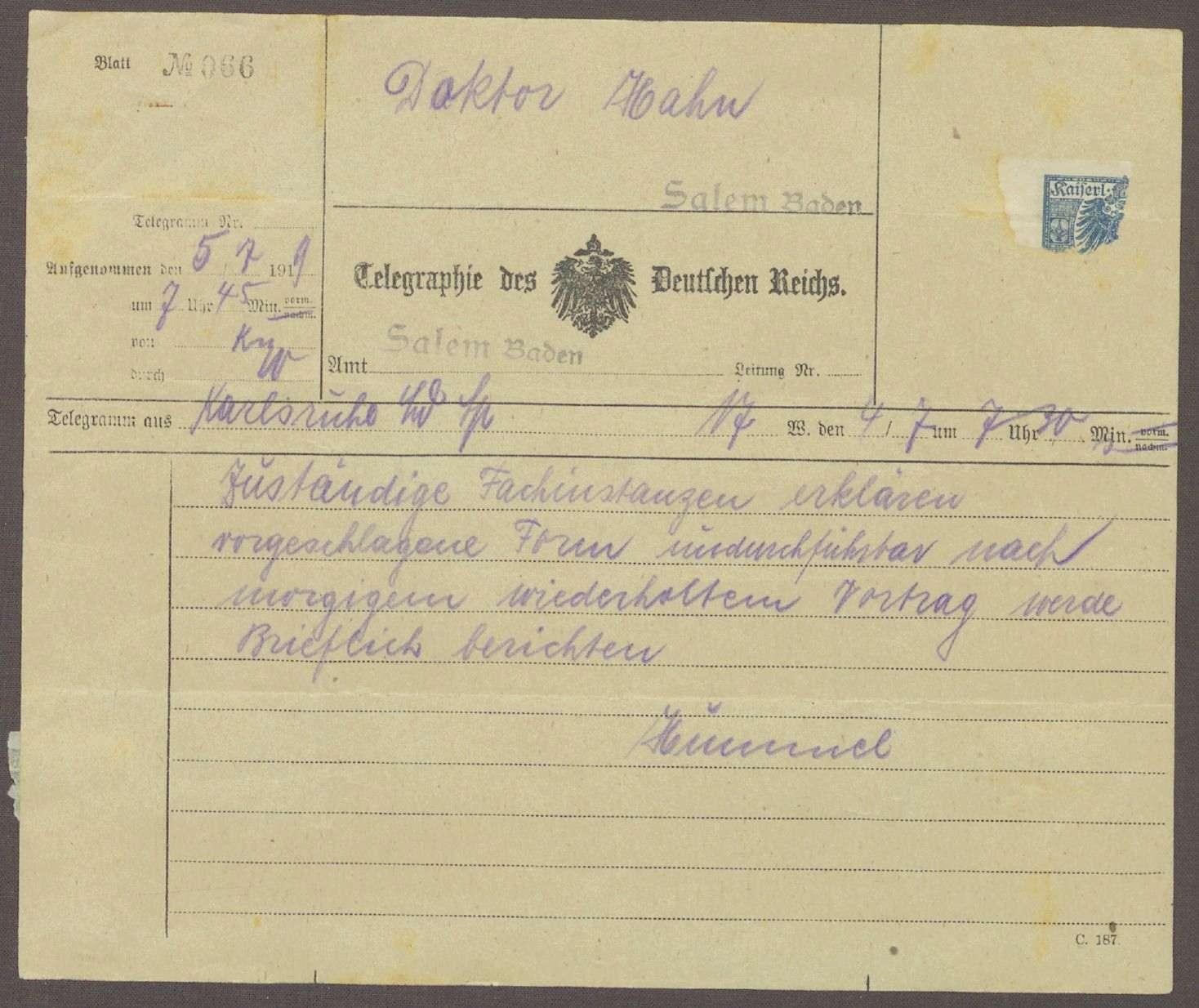 Telegramm von Hermann Hummel an Kurt Hahn; Ankündigung eines Briefes und Stellungnahme der Fachinstanzen zu einem spezifischen Anliegen, Bild 1